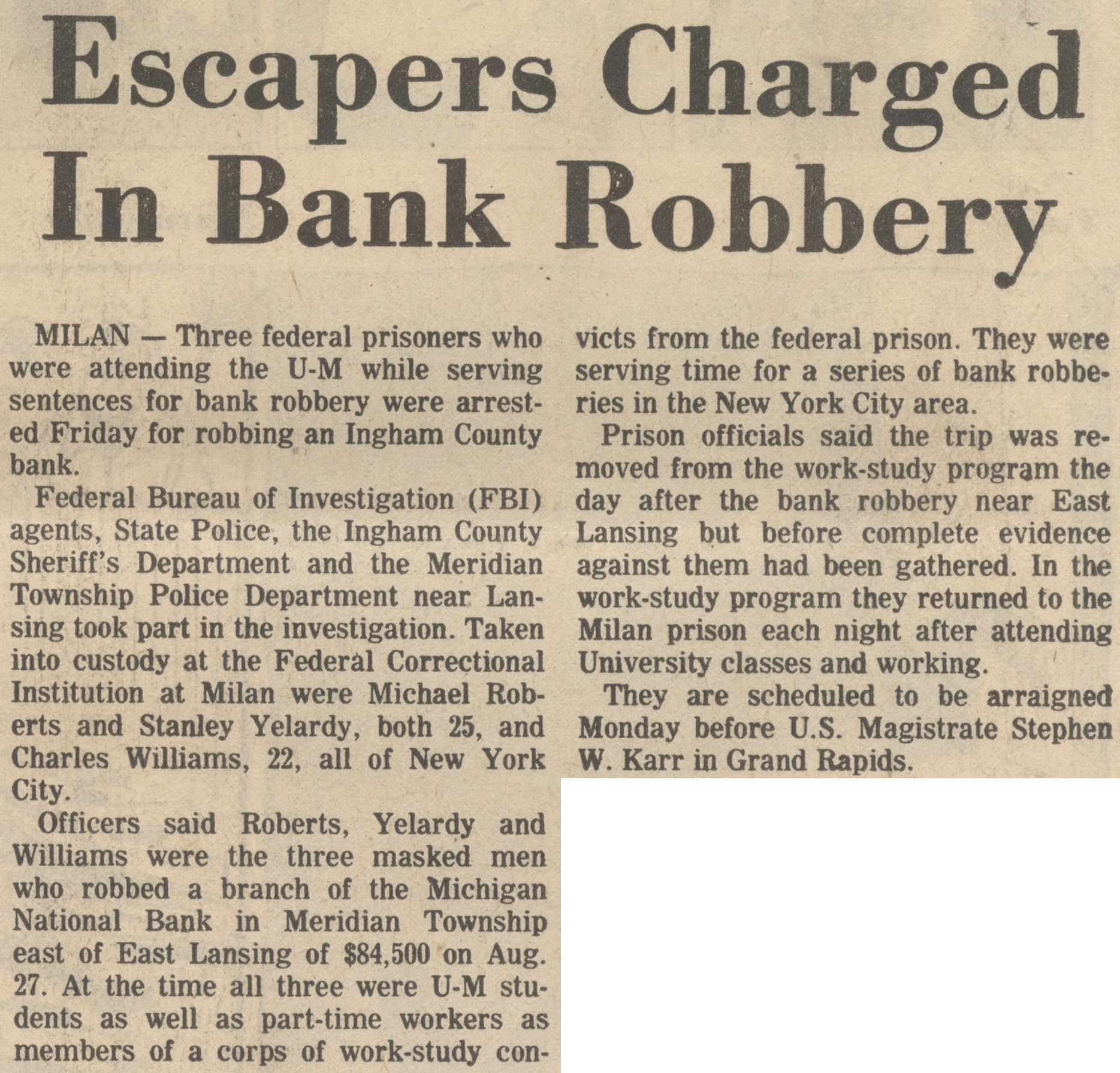Escapers Charged In Bank Robbery image