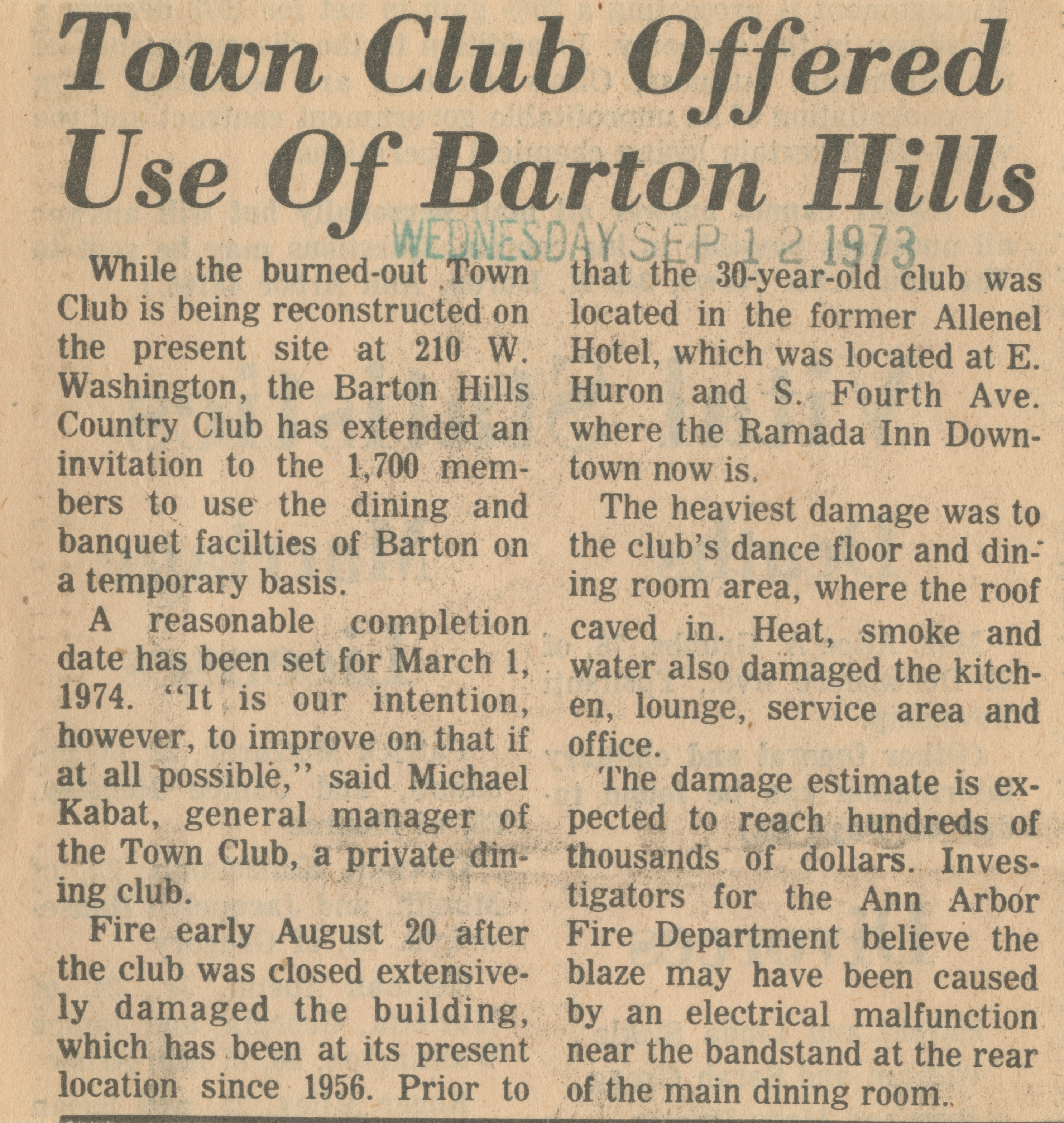 Town Club Offered Use Of Barton Hills image