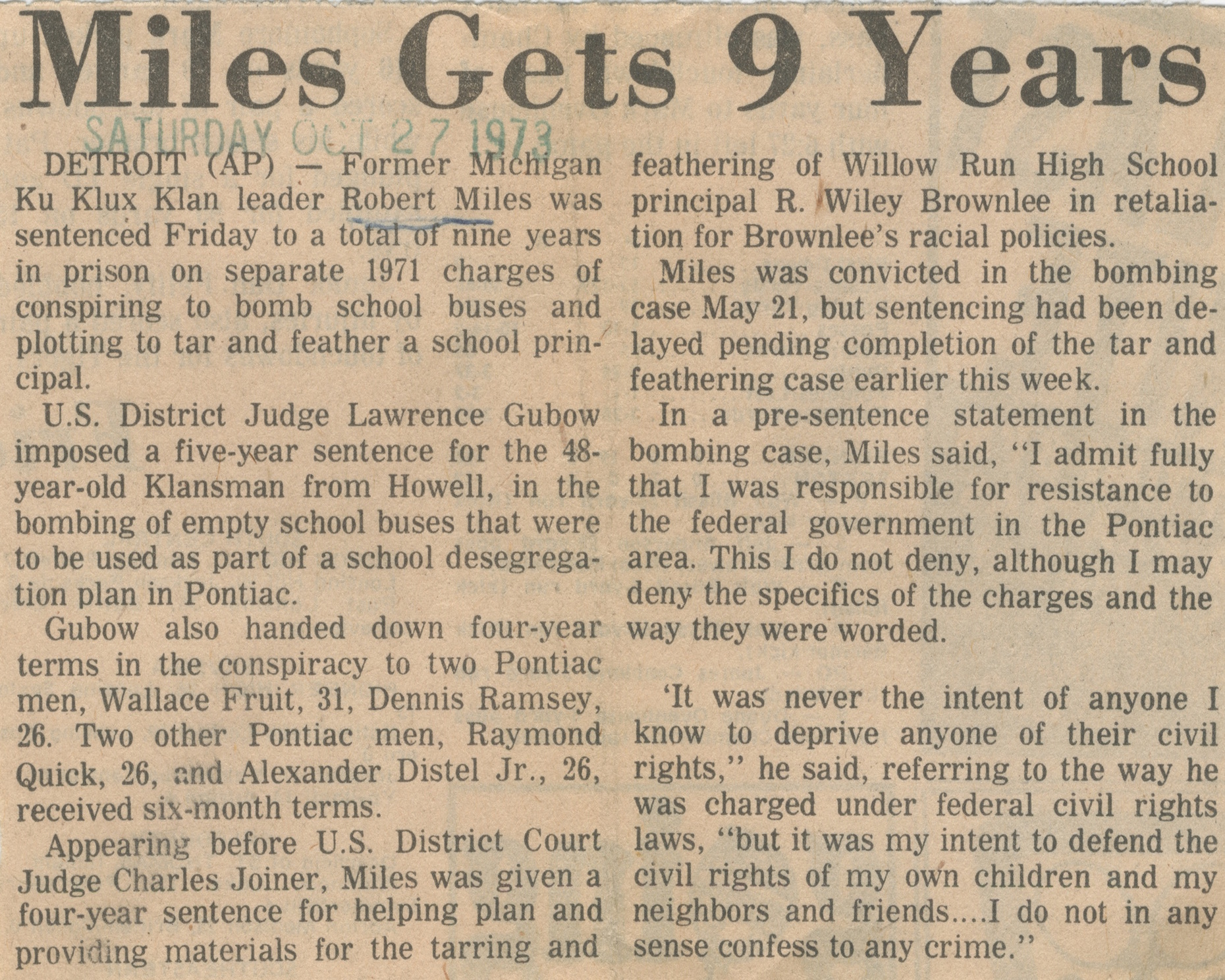 Miles Gets 9 Years image