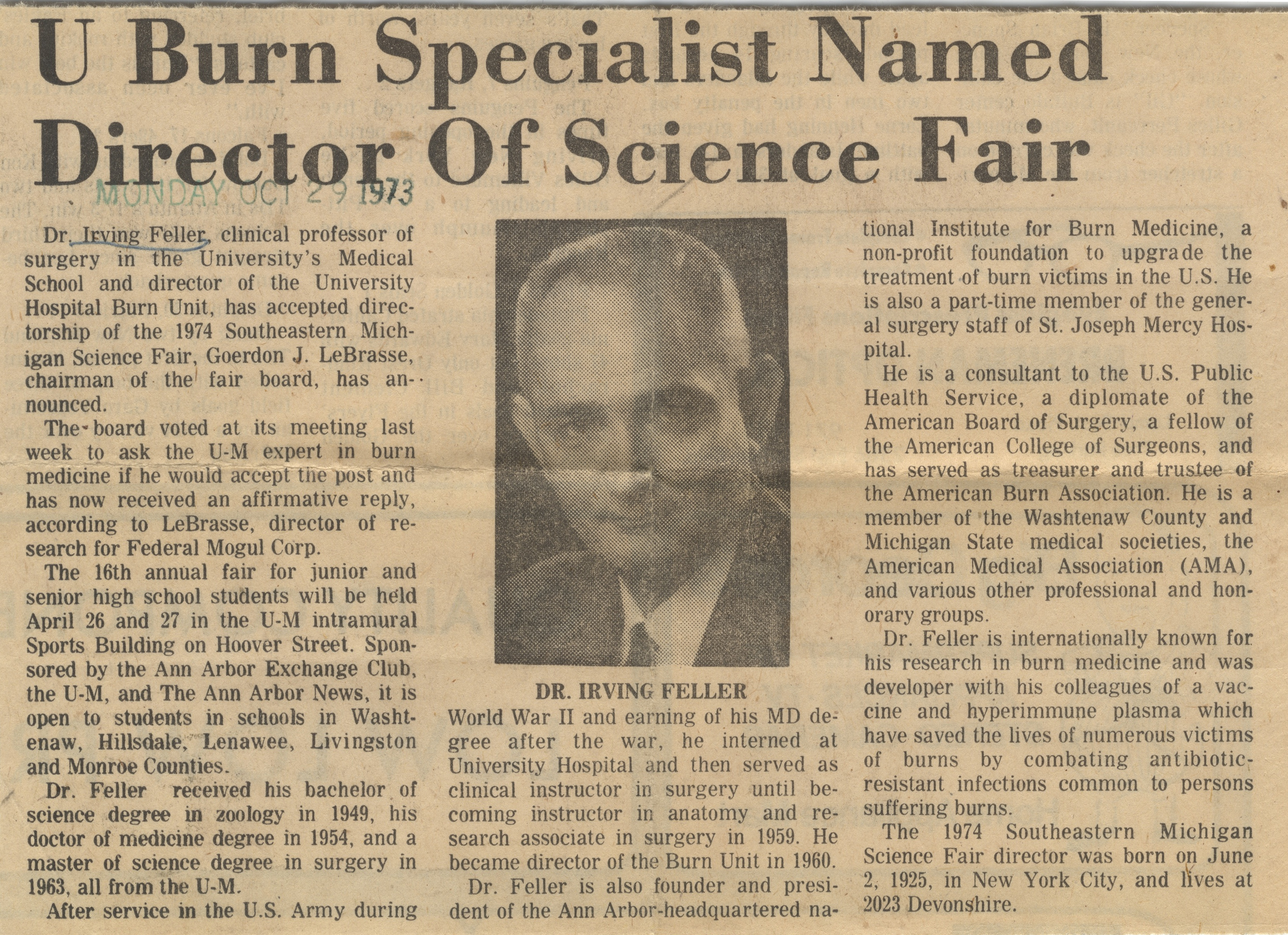 U Burn Specialist Named Director Of Science Fair image