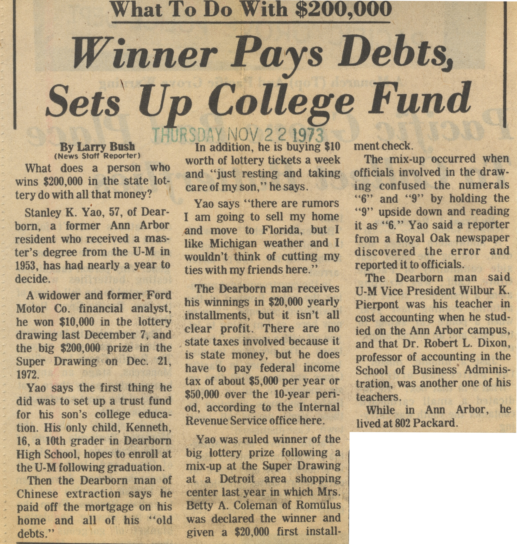 Winner Pays Debts, Sets Up College Fund image