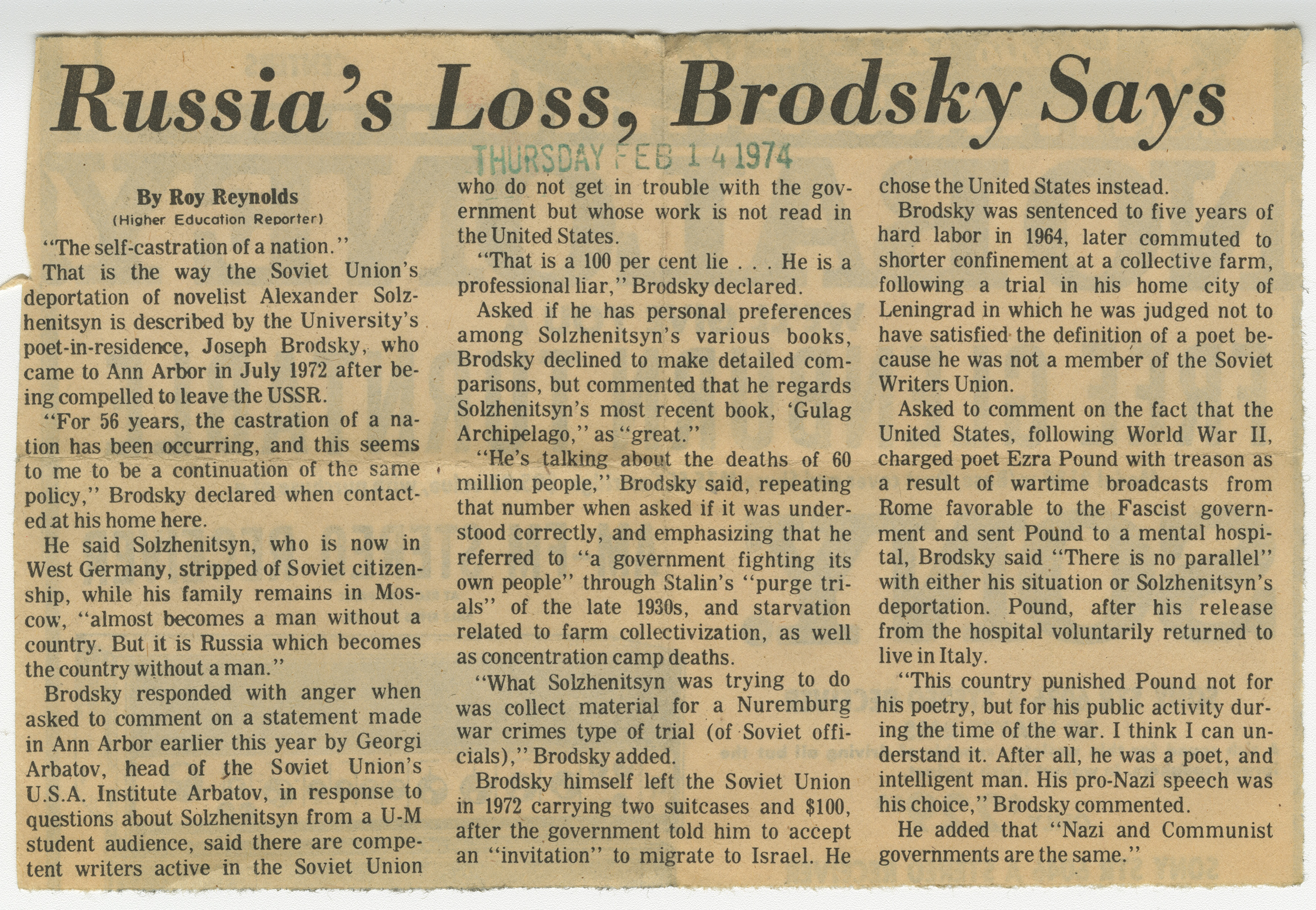 Russia's Loss, Brodsky Says image