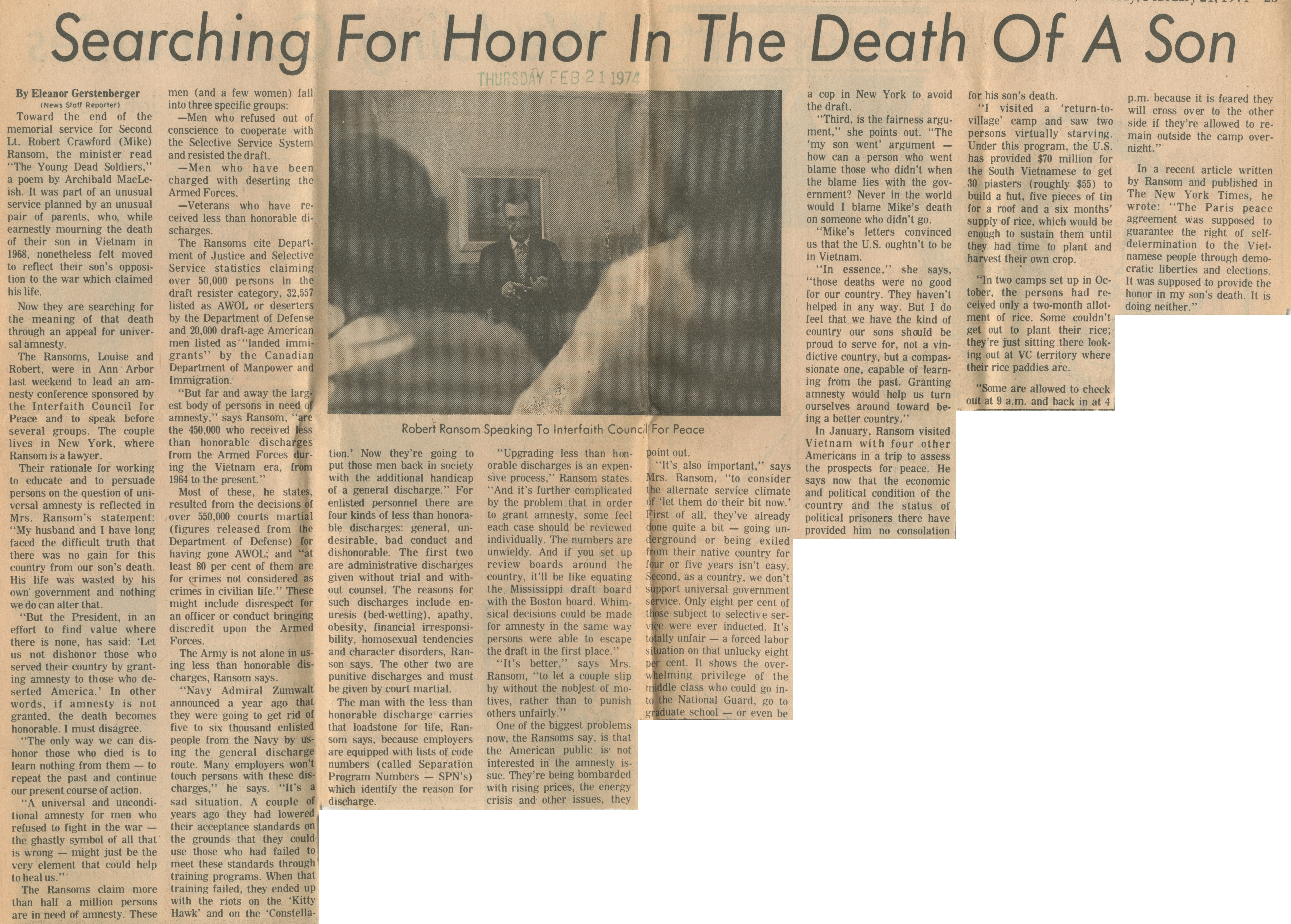 Searching For Honor In The Death Of A Son image