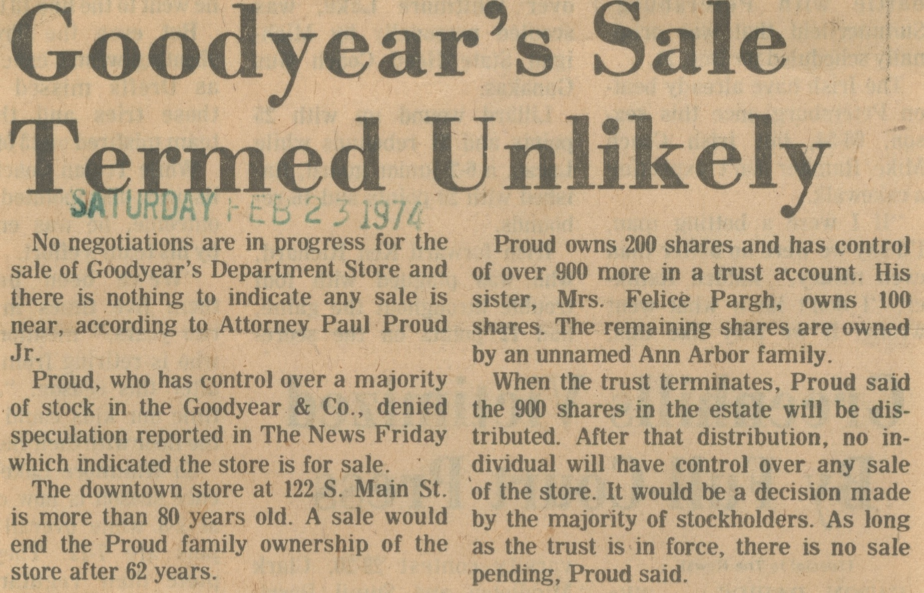 Goodyear's Sale Termed Unlikely image