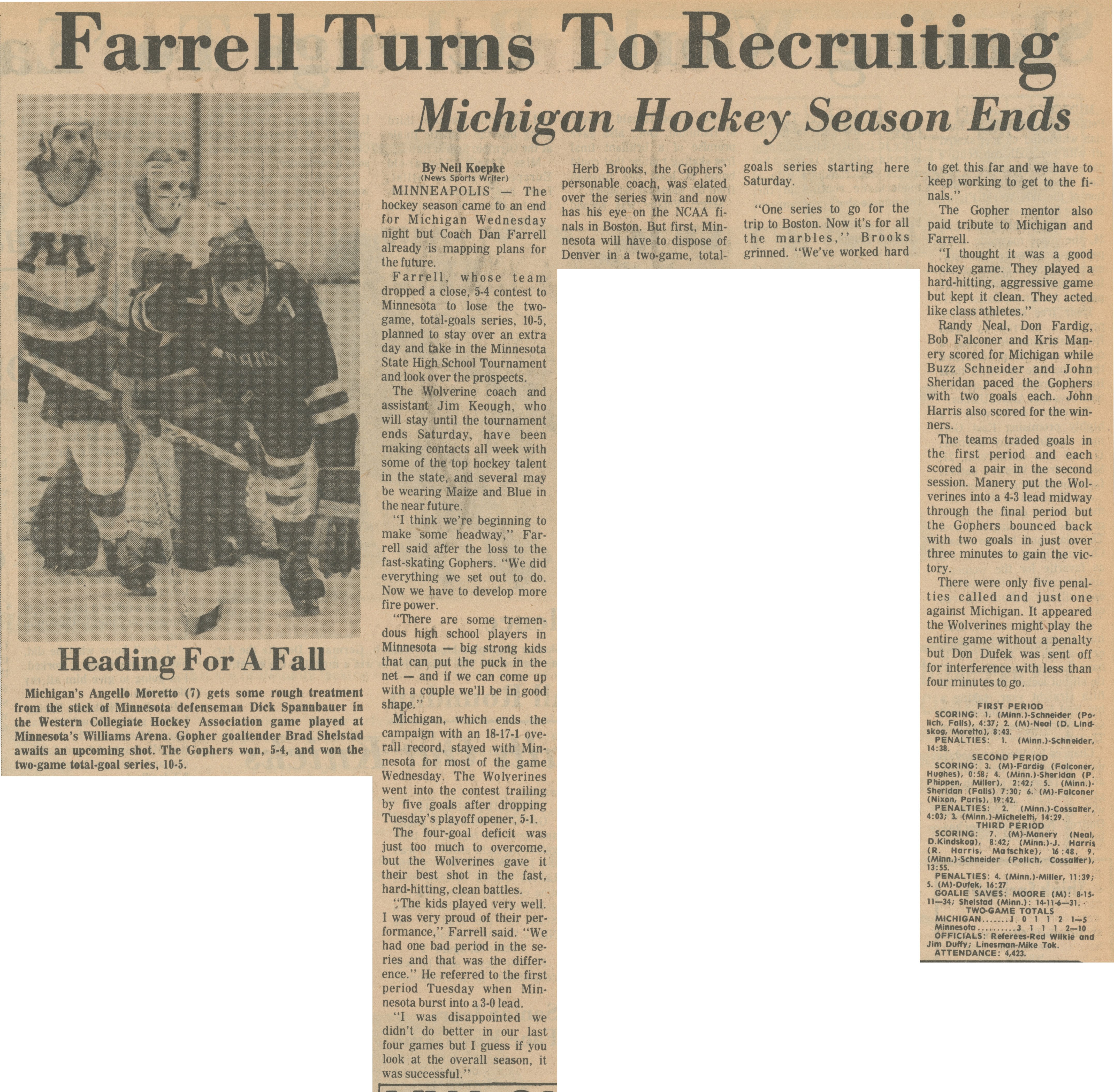 Farrell Turns To Recruiting - Michigan Hockey Season Ends image