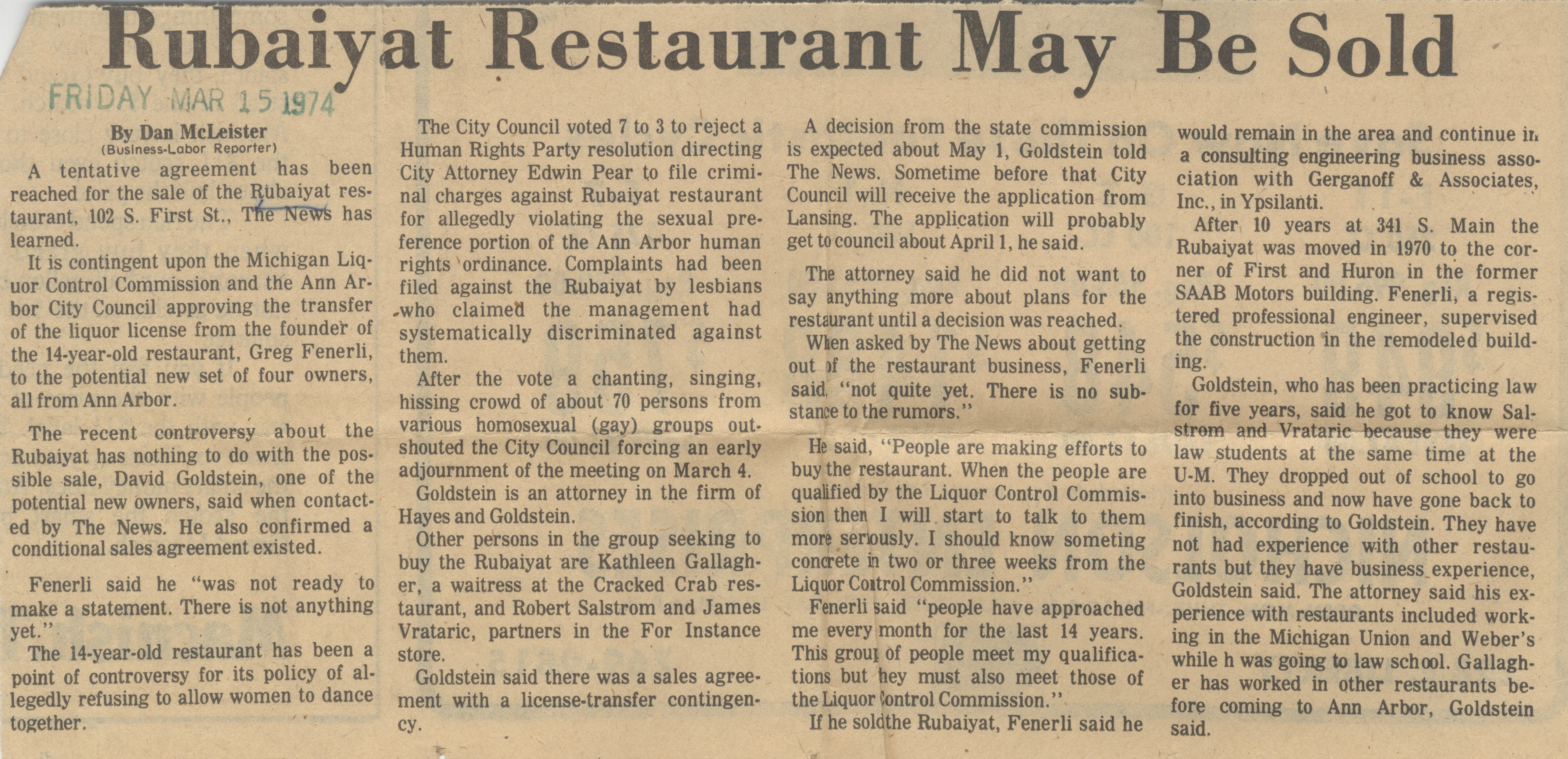 Rubaiyat Restaurant May Be Sold image