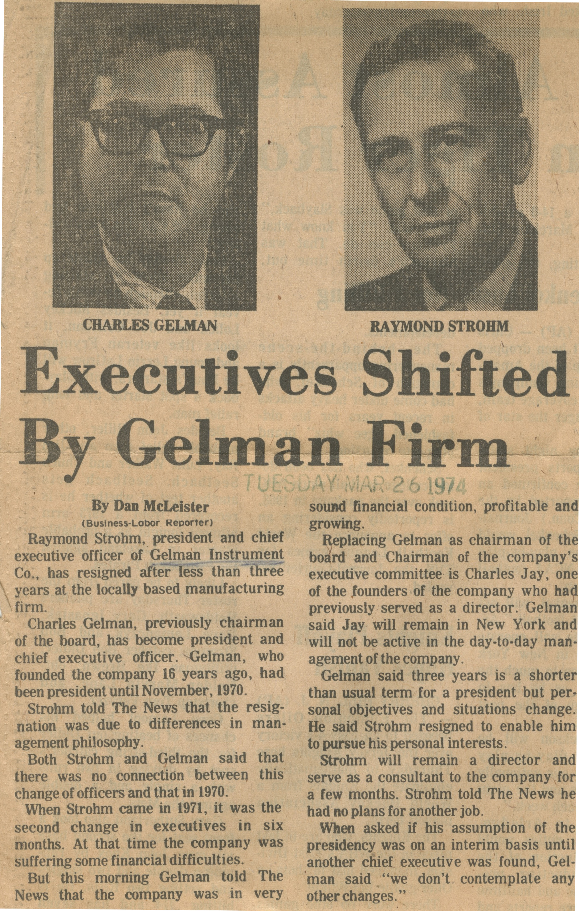 Executives Shifted By Gelman Firm image