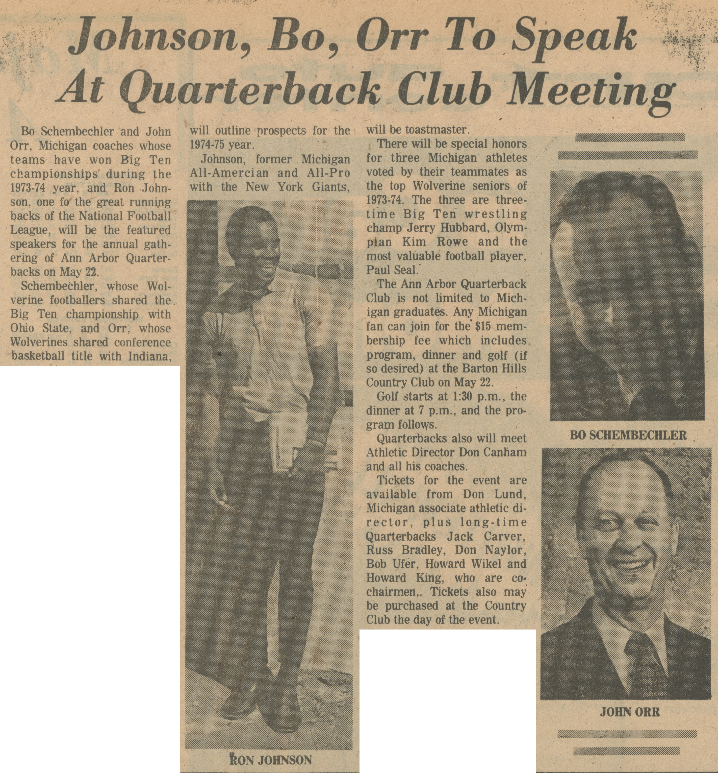 Johnson, Bo, Orr To Speak At Quarterback Club Meeting image