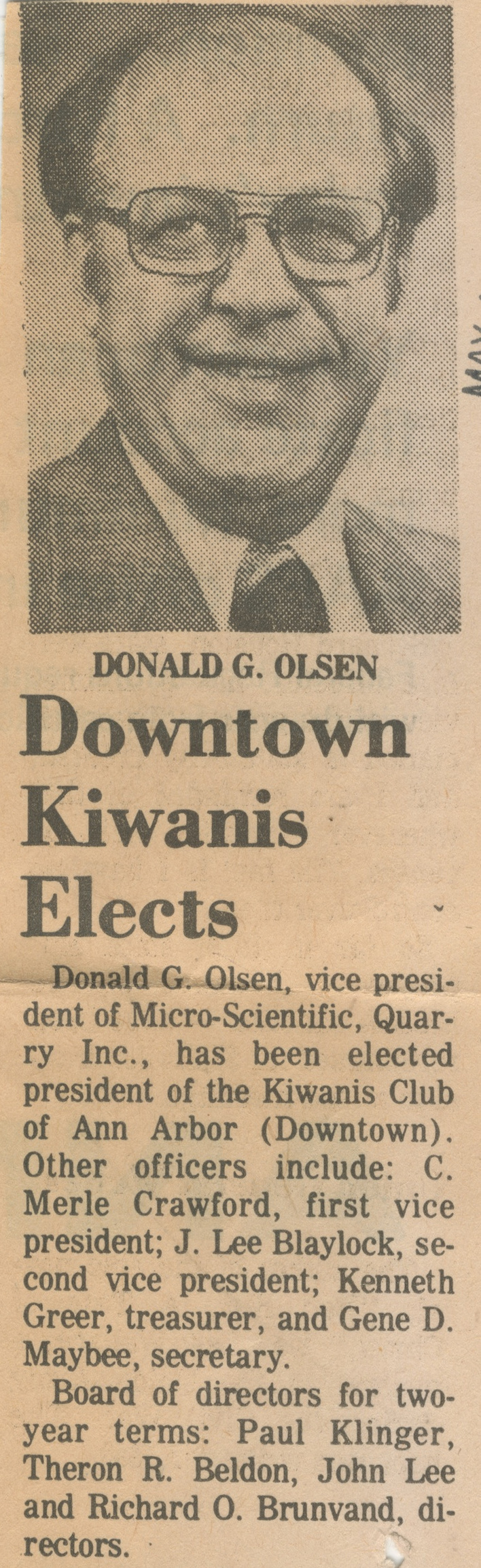 Downtown Kiwanis Elects image