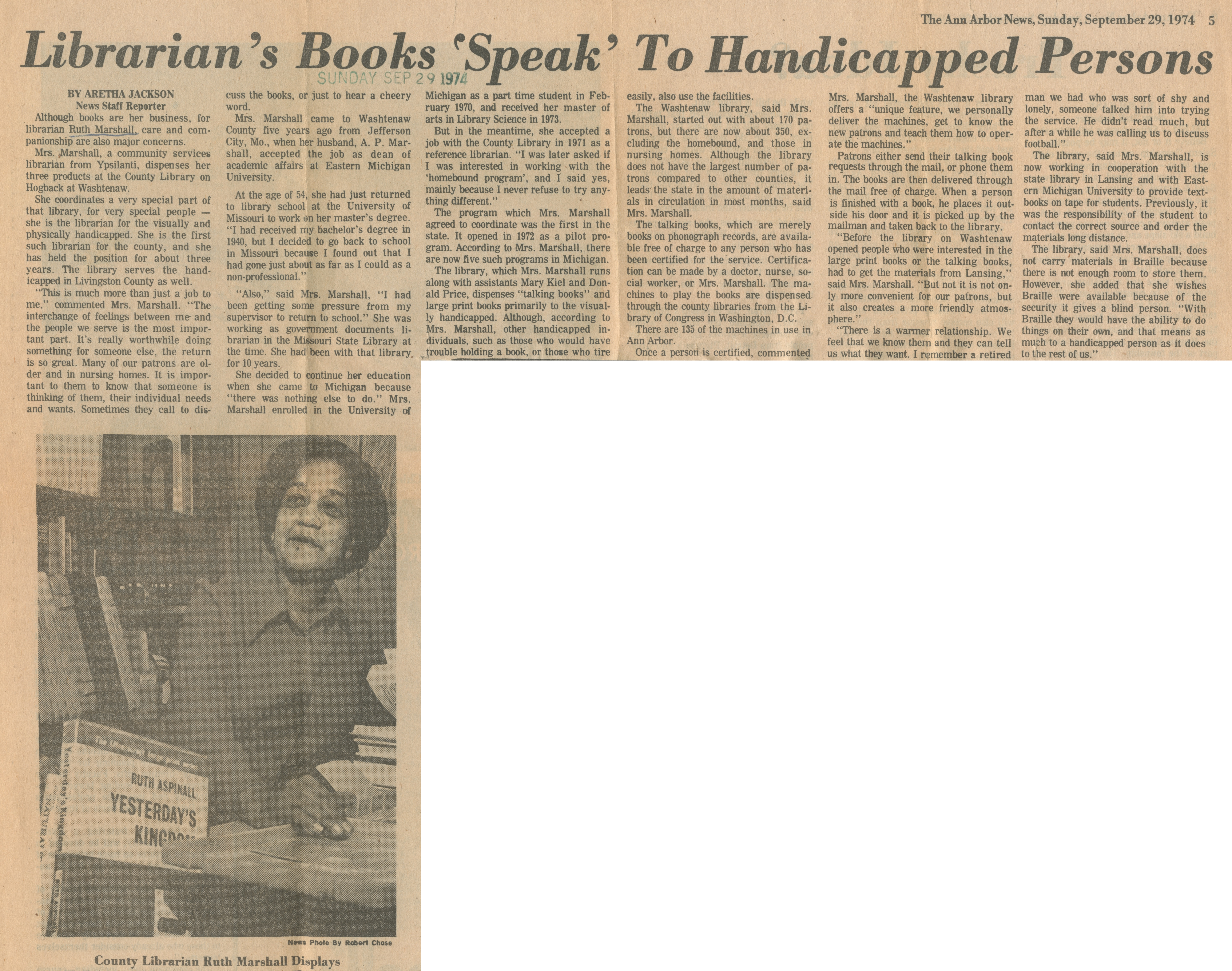 Librarian's Books 'Speak' To Handicapped Persons image