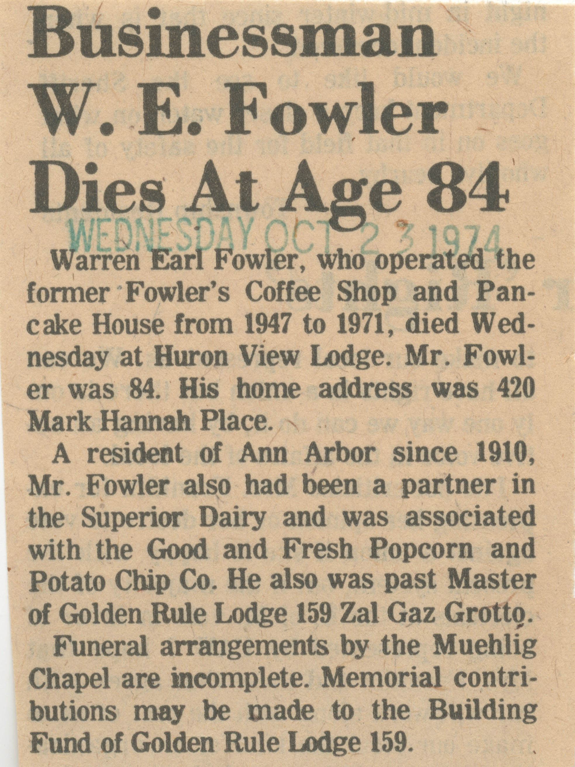 Businessman W. E. Fowler Dies At Age 84 image