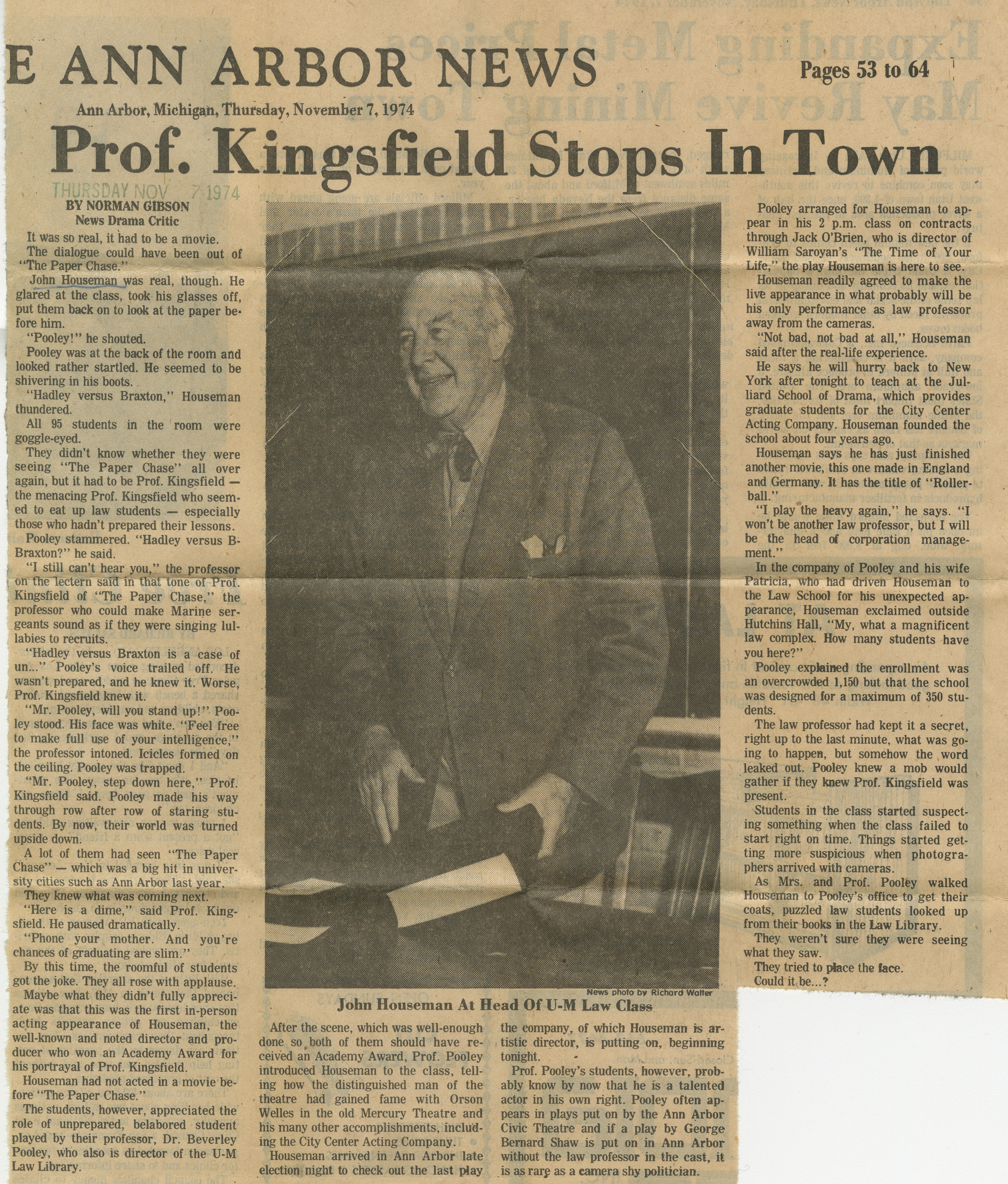 Prof. Kingsfield Stops In Town image