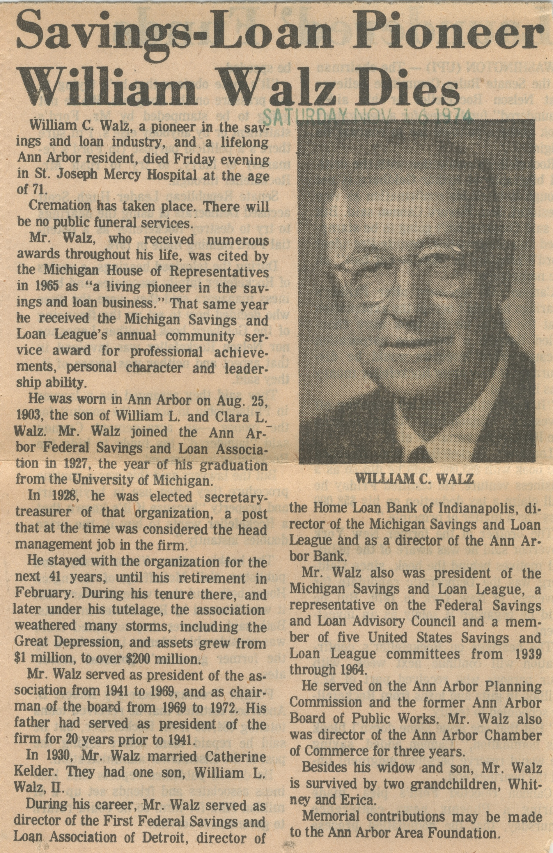 Savings-Loan Pioneer William Walz Dies image