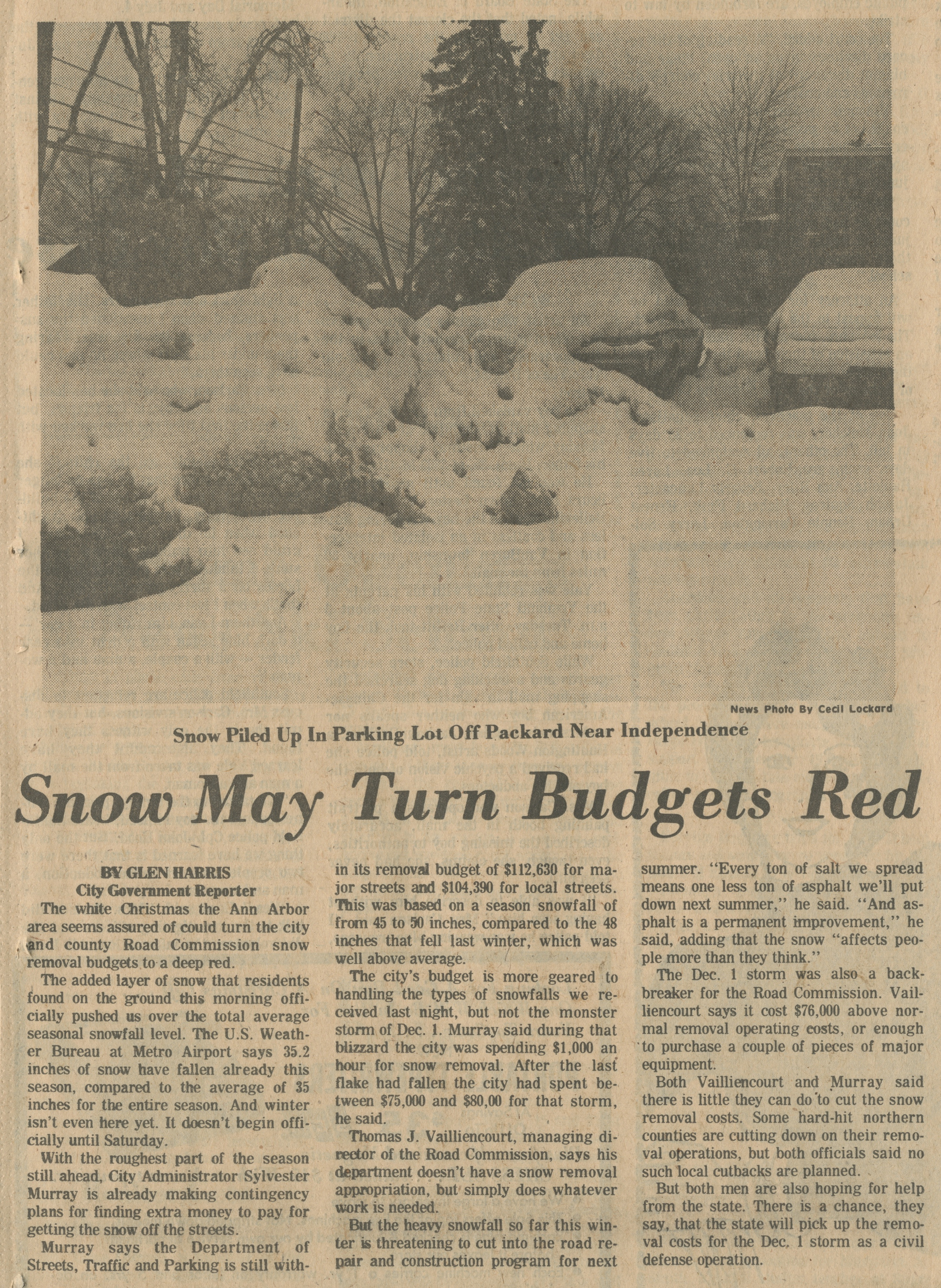 Snow May Turn Budgets Red image