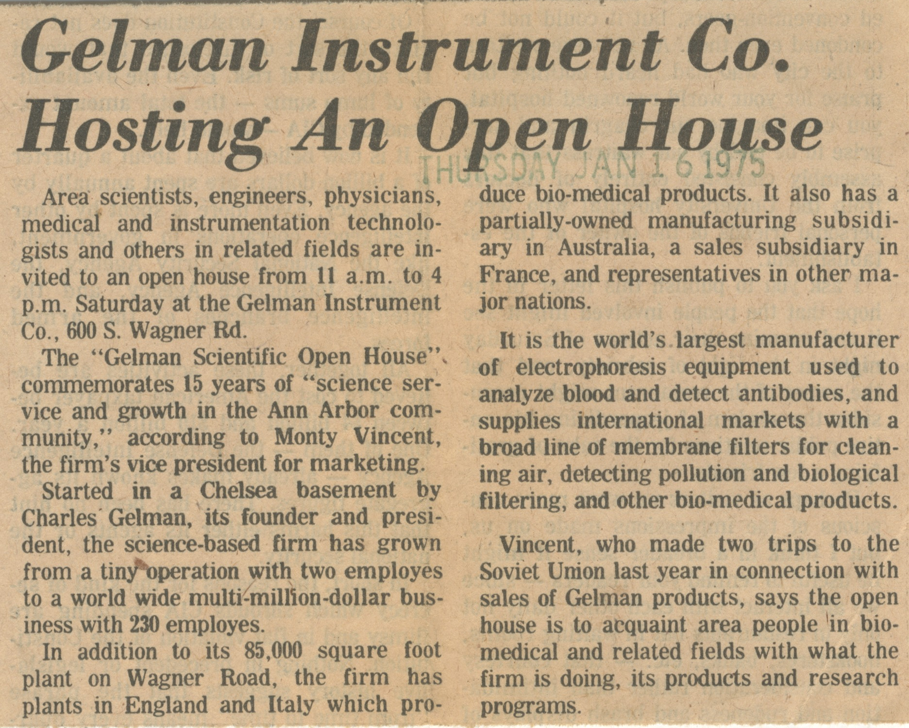 Gelman Instrument Co. Hosting An Open House image