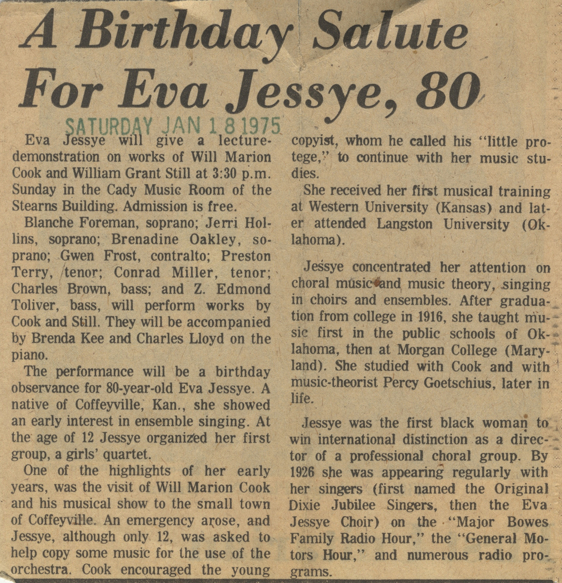 A Birthday Salute For Eva Jessye, 80 image
