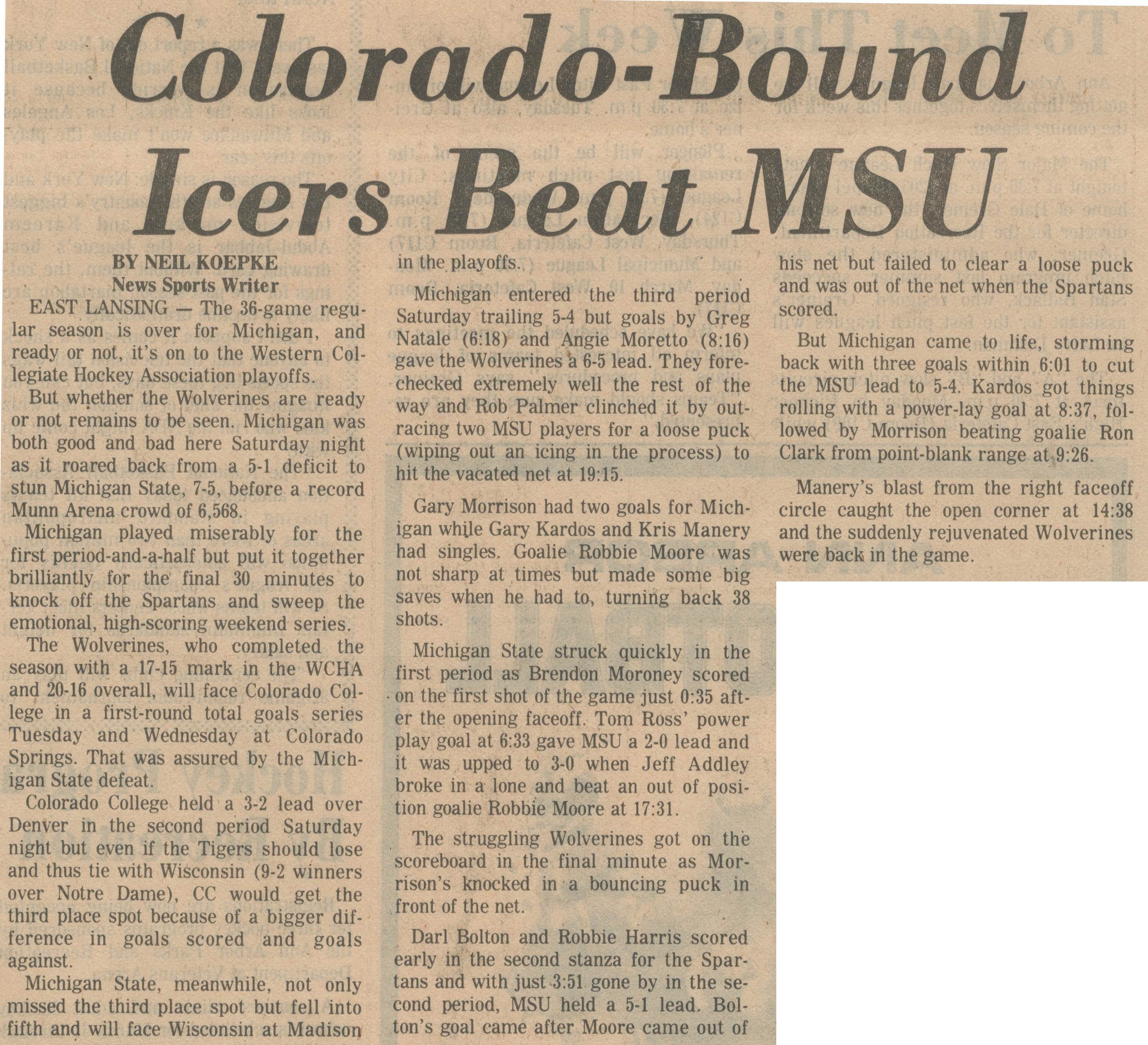 Colorado-Bound Icers Beat MSU image
