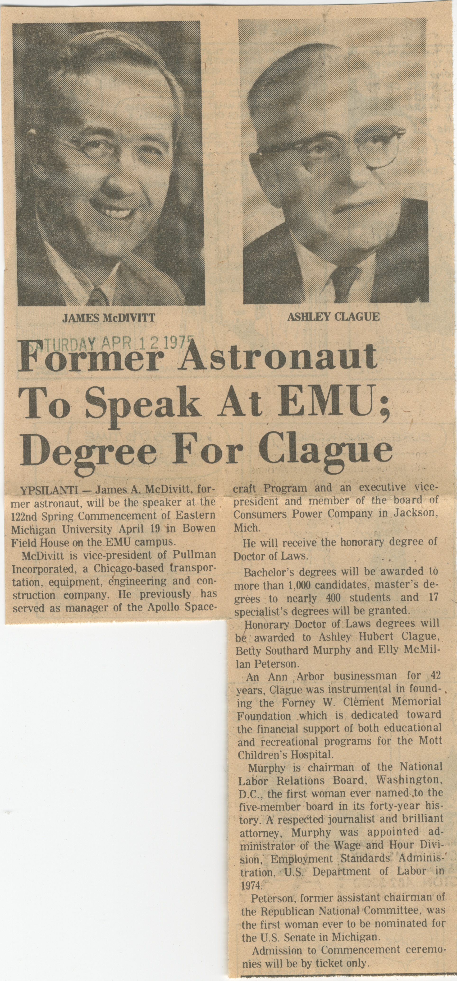 Former Astronaut To Speak At EMU;  Degree For Clague image