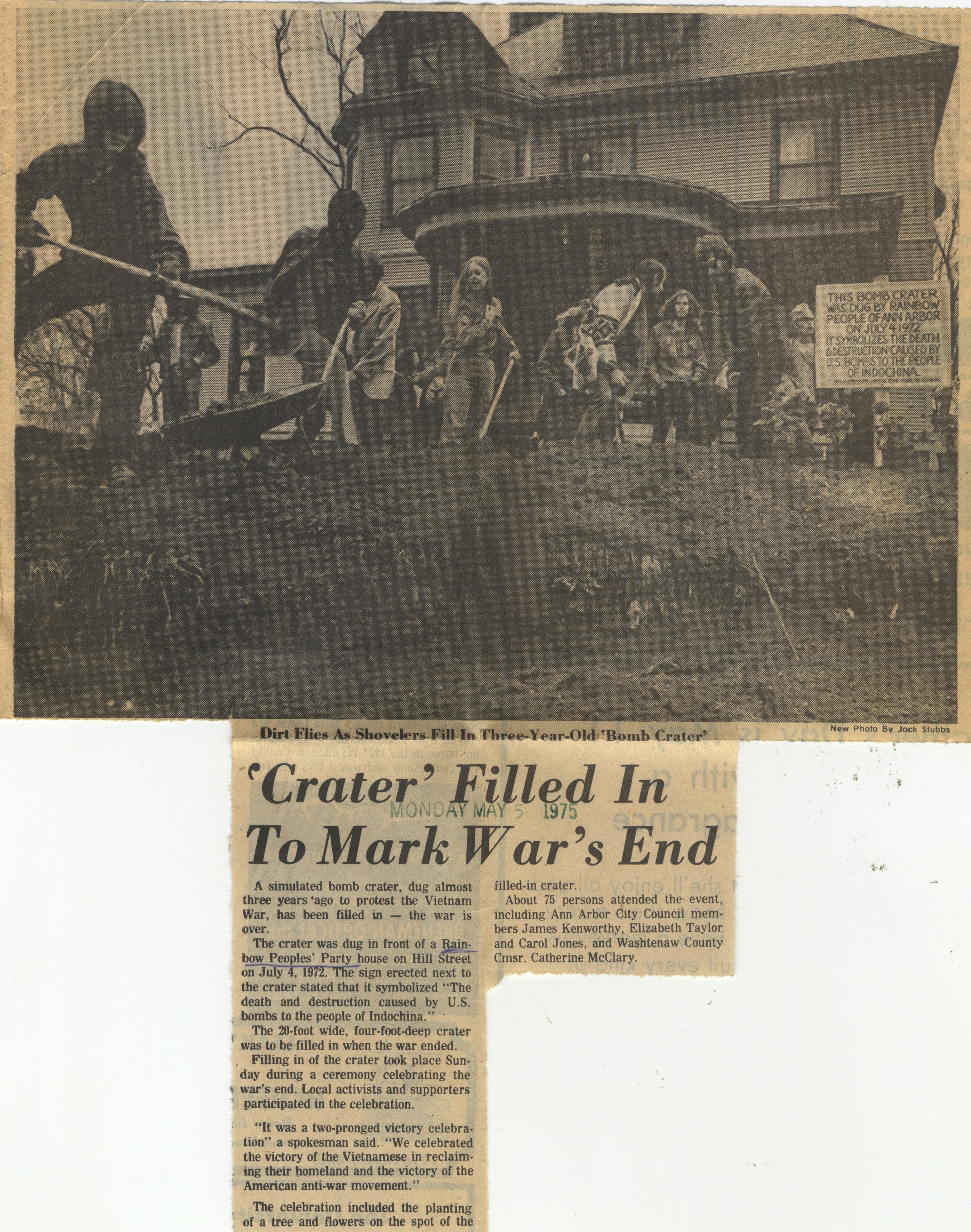 'Crater' Filled in To Mark War's End image