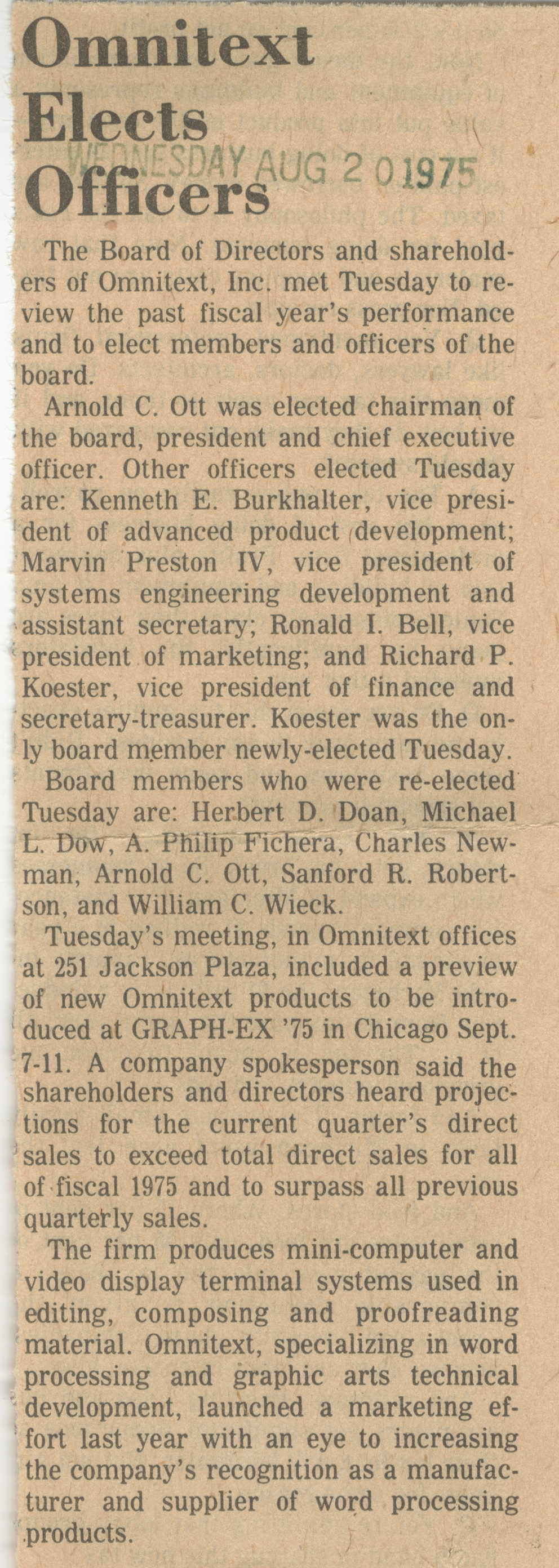 Omnitext Elects Officers image