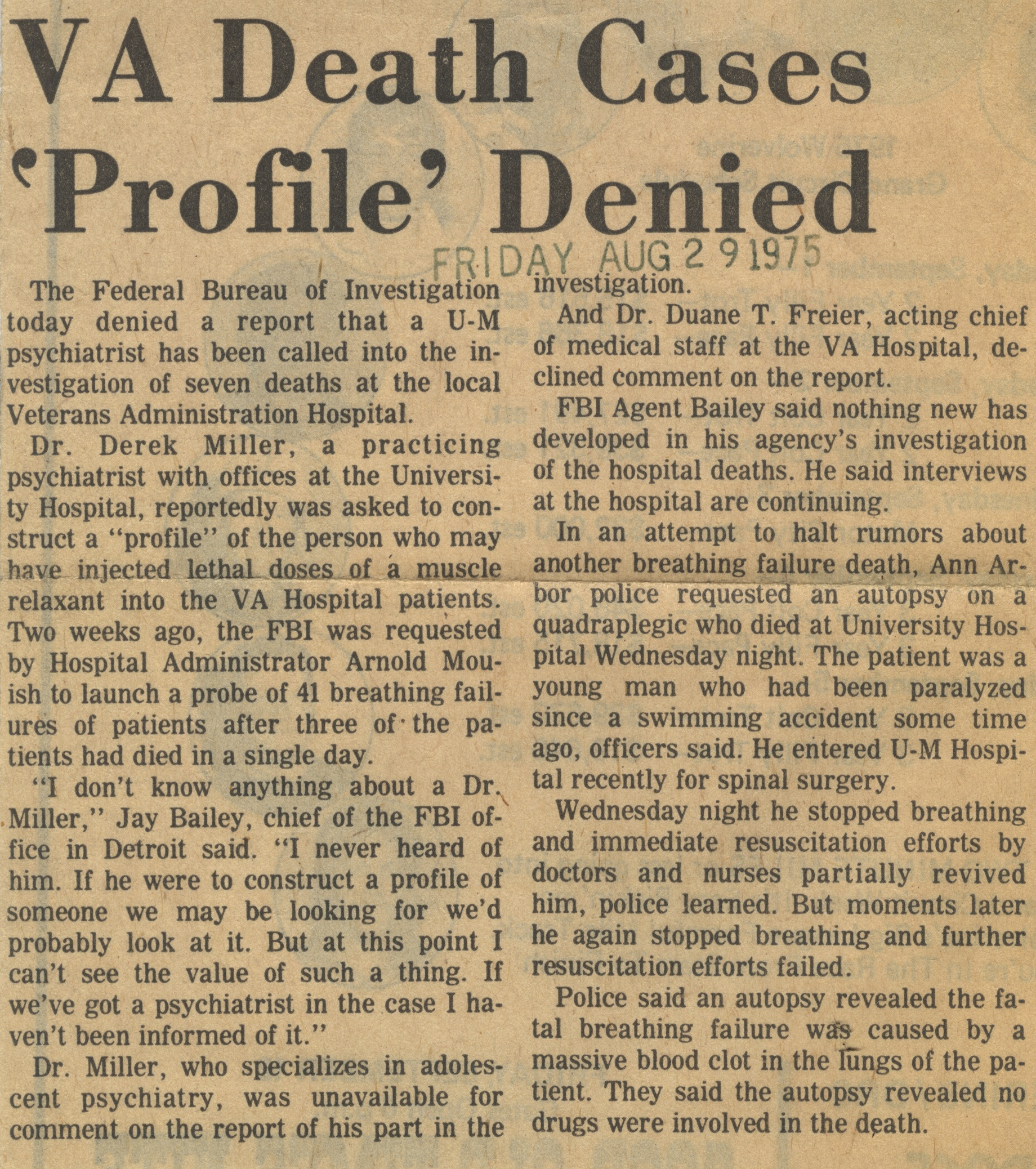 V A Death Cases 'Profile' Denied image