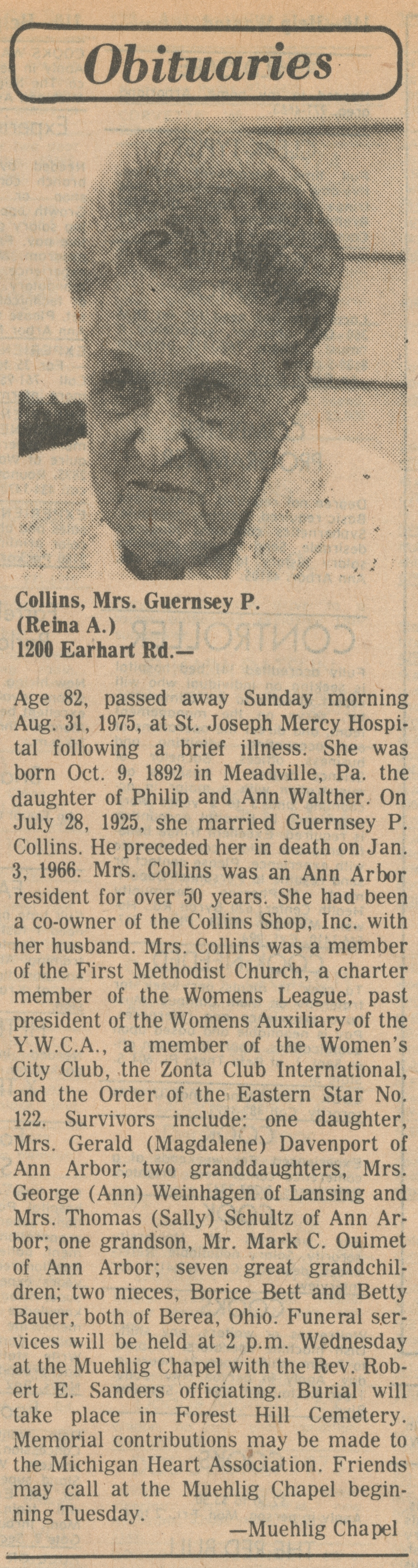 Collins, Mrs. Guernsey P. (Reina A.) image