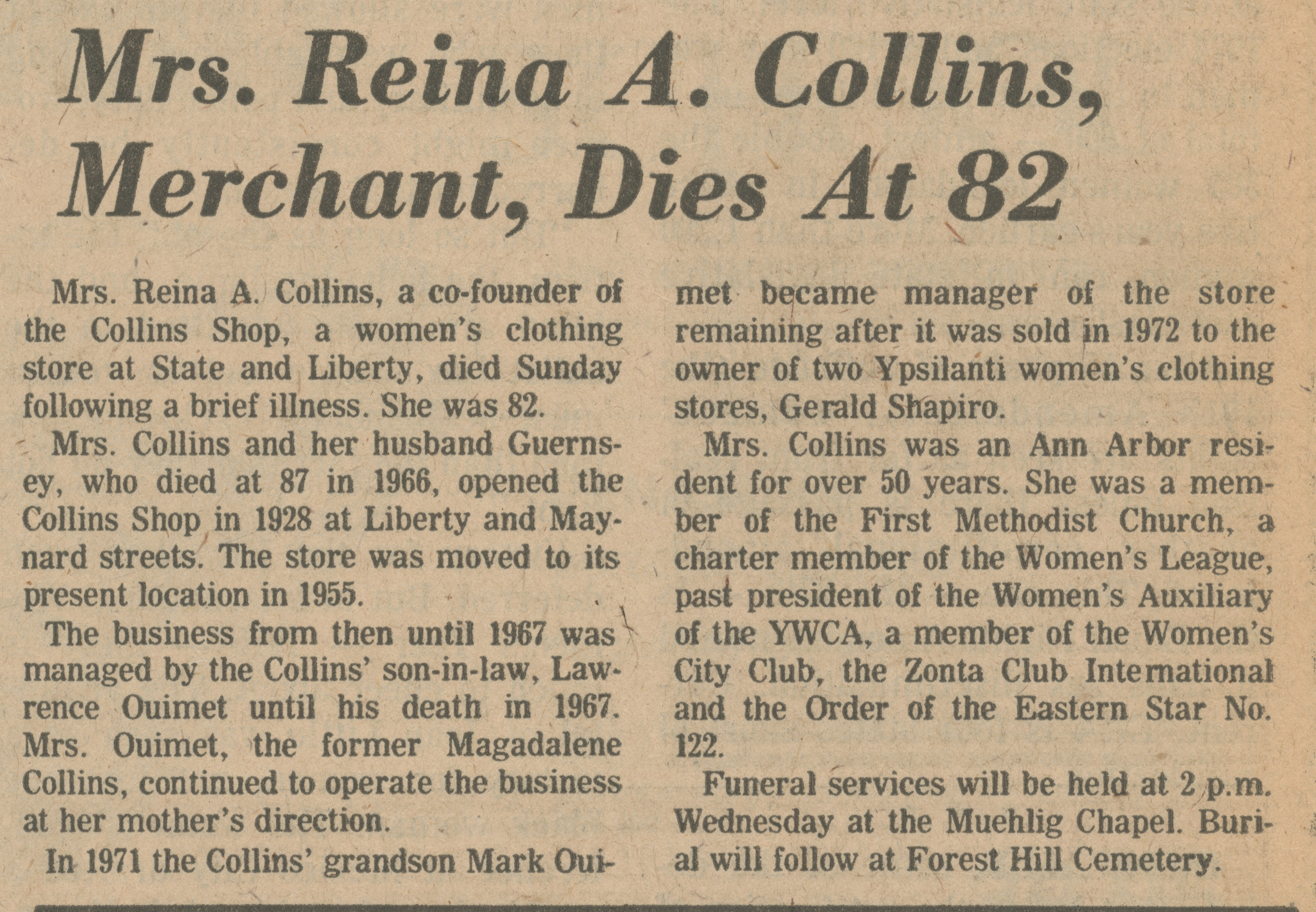 Mrs. Reina A. Collins, Merchant, Dies At 82 image