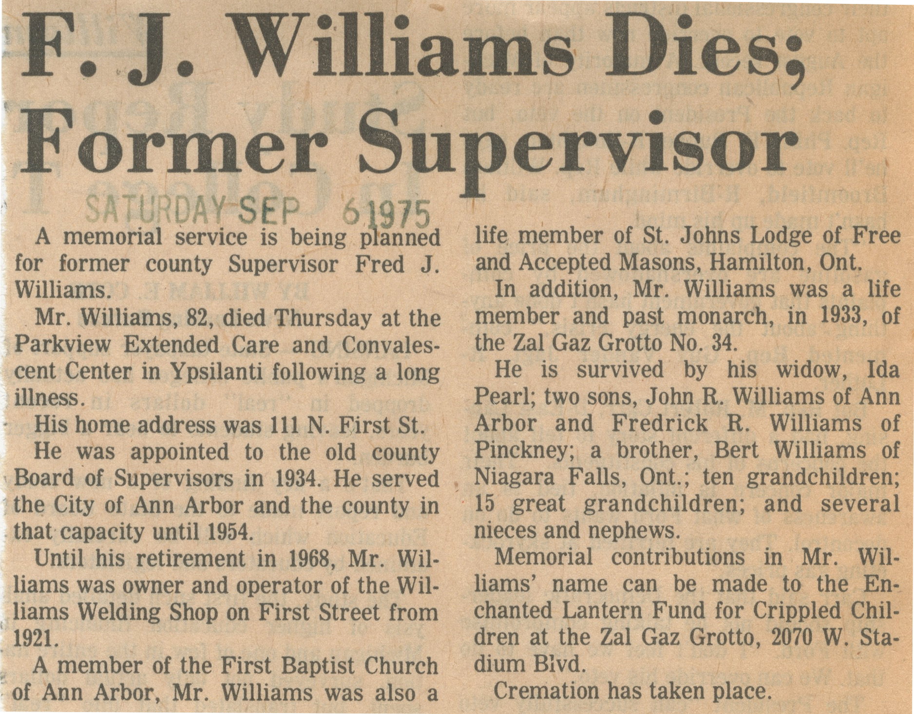 F. J. Williams Dies; Former Supervisor image