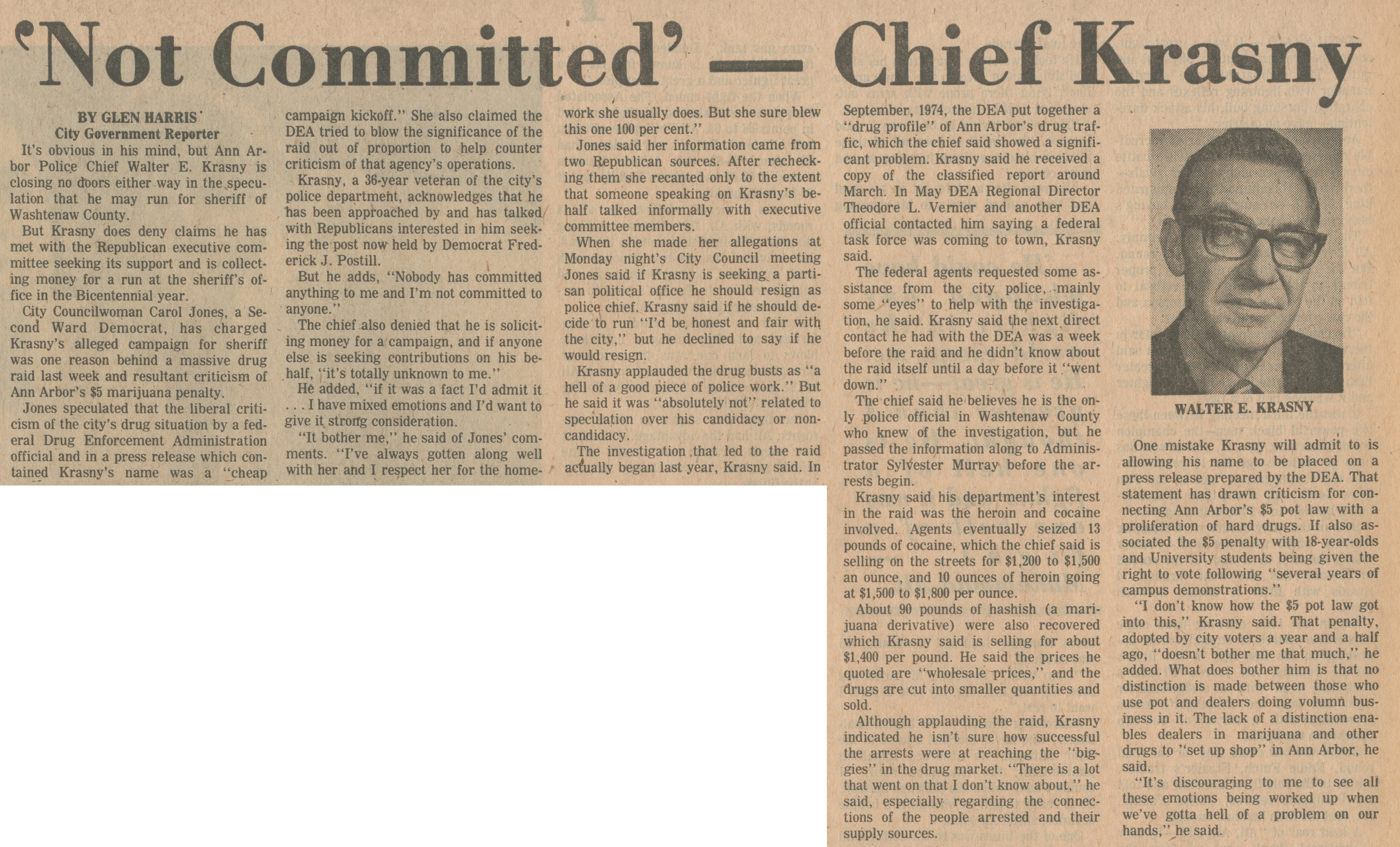 'Not Committed' -- Chief Krasny image