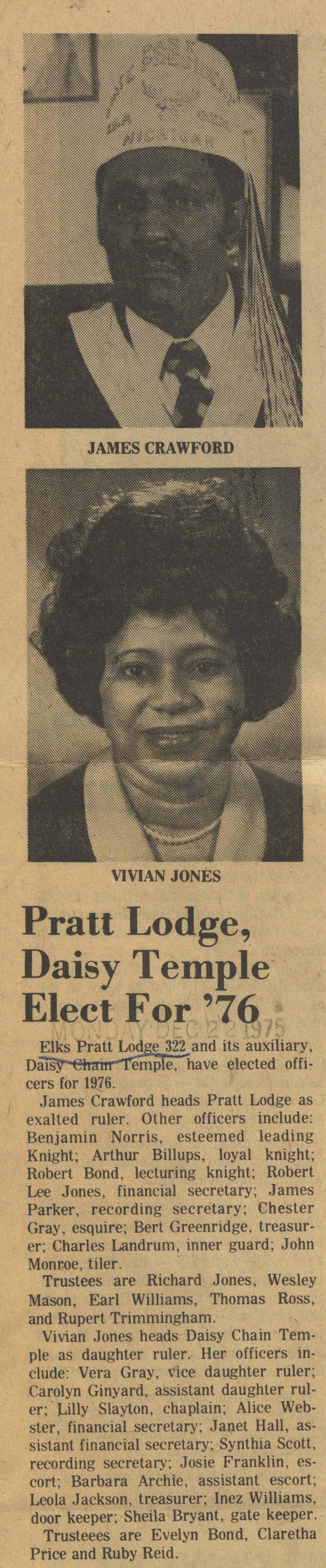 Pratt Lodge, Daisy Temple Elect For '76 image