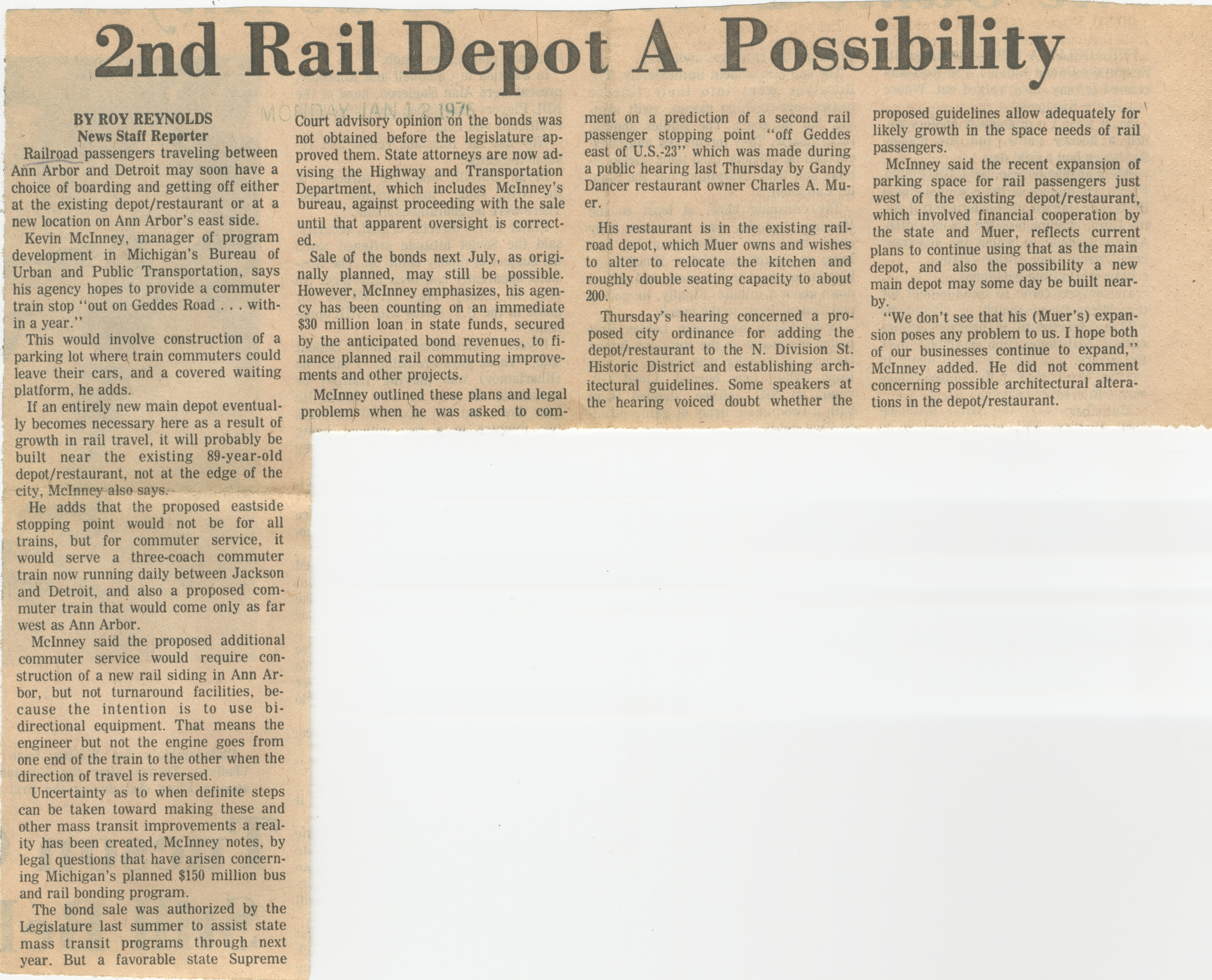 2nd Rail Depot A Possibility image