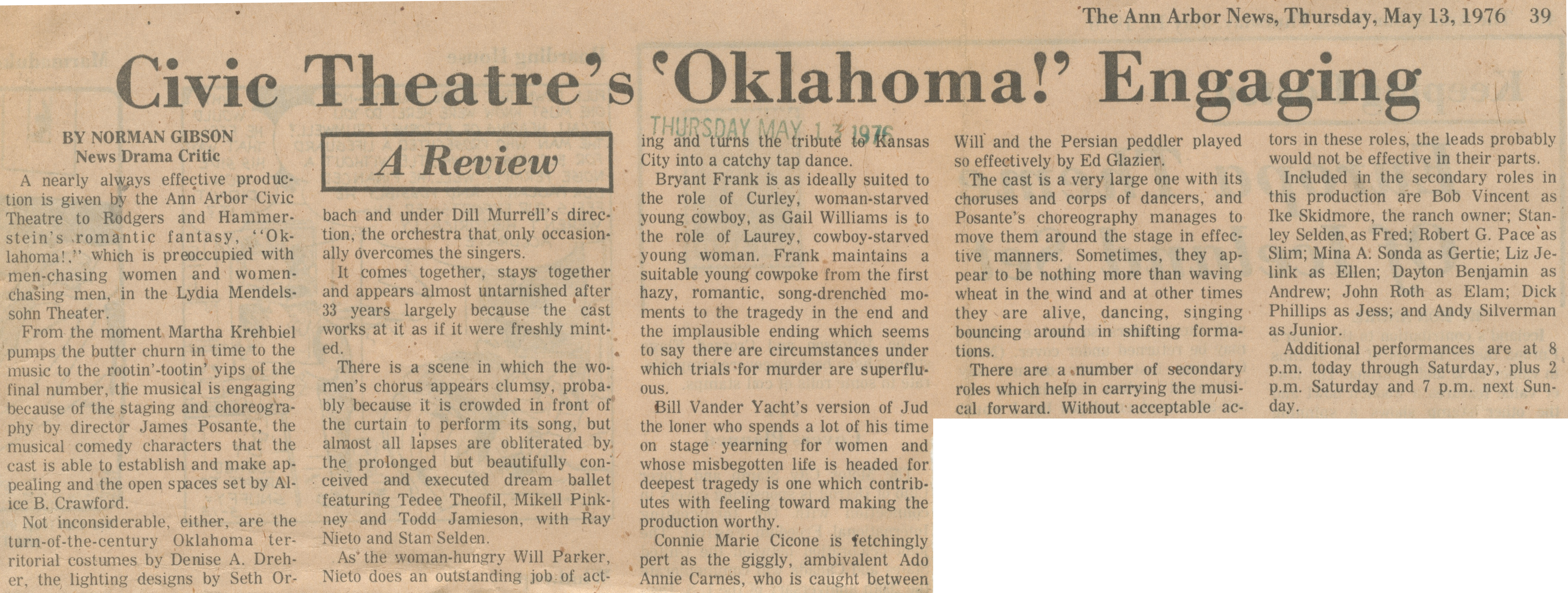 Civic Theatre's 'Oklahoma!' Engaging image
