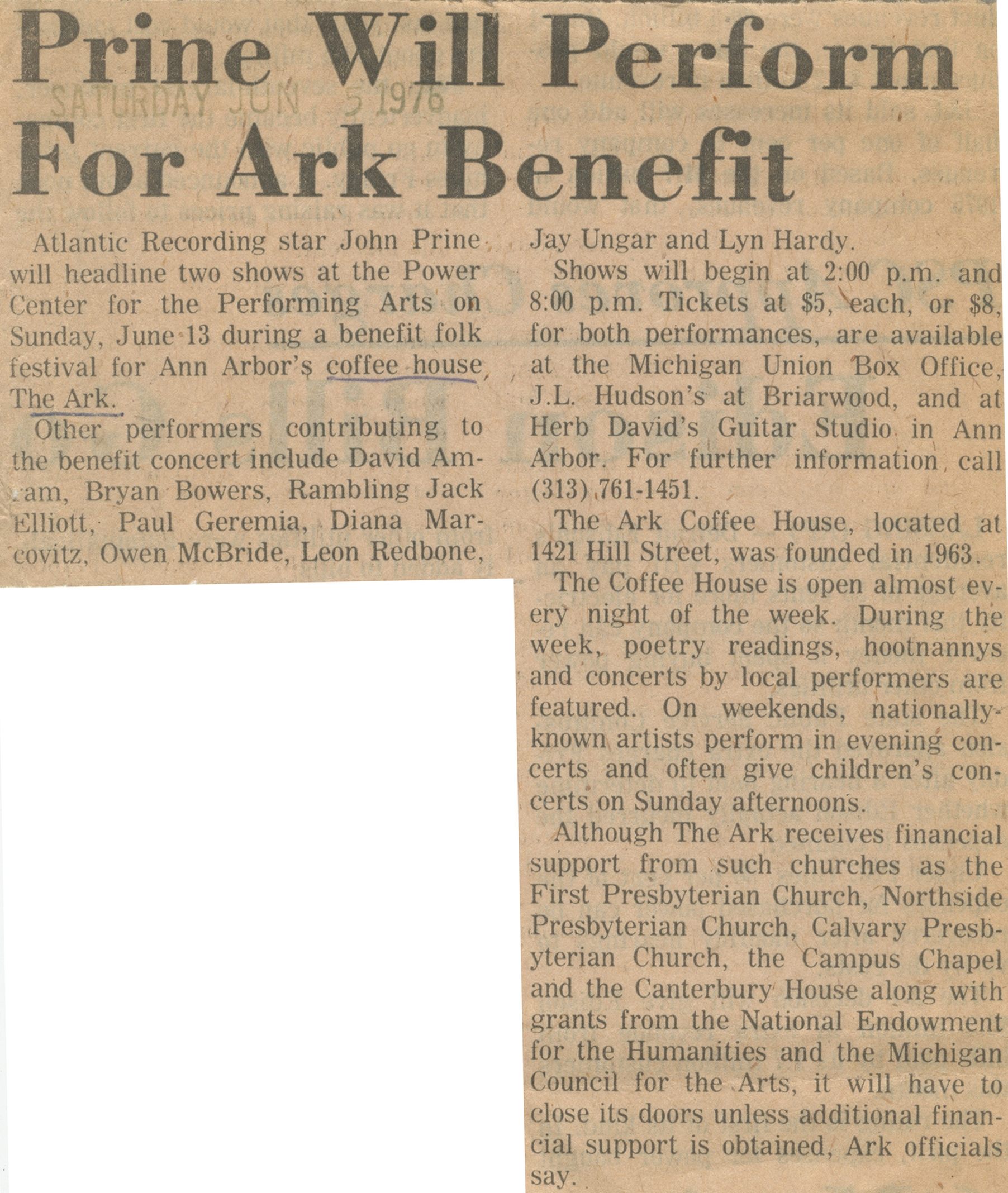 Prine Will Perform For Ark Benefit image