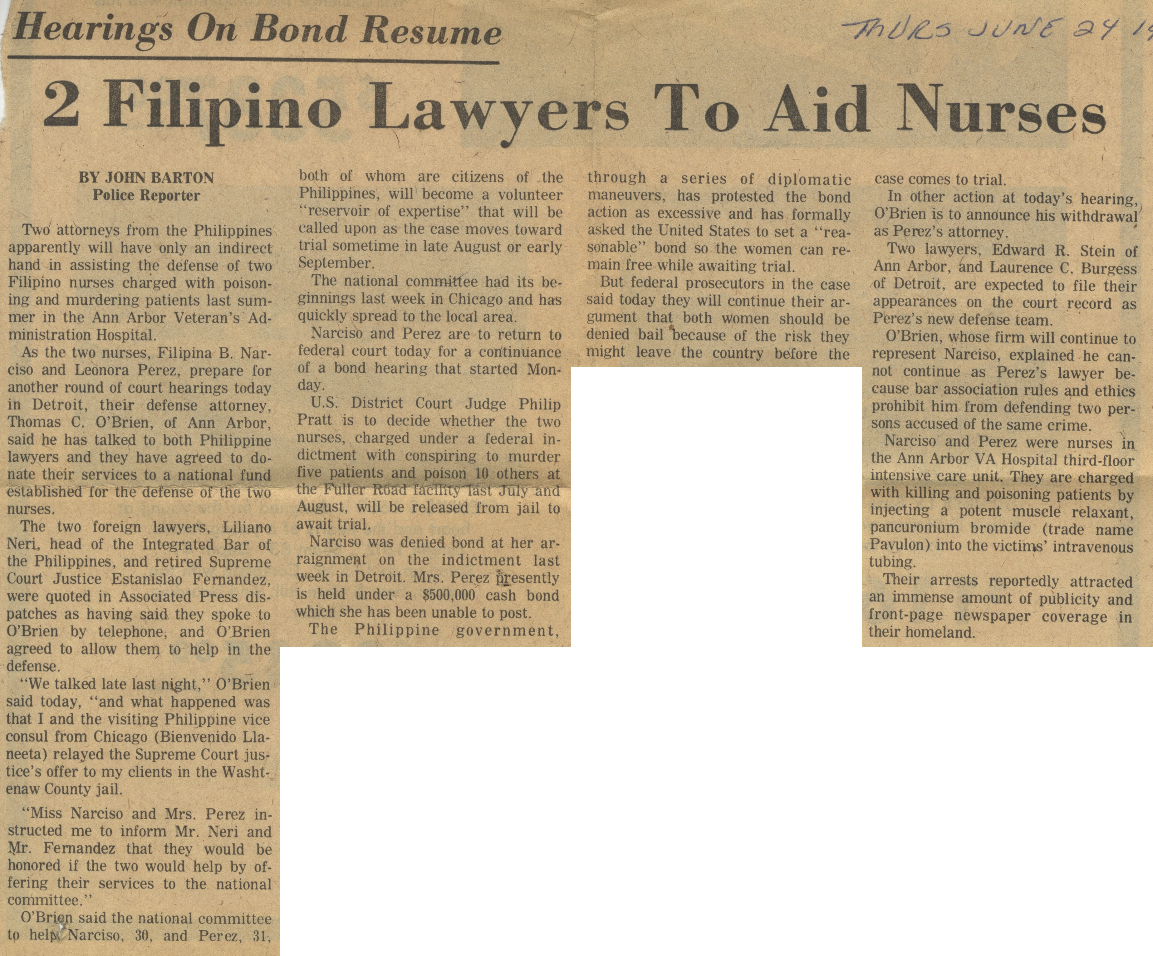Hearings On Bond Resume: 2 Filipino Lawyers To Aid Nurses image