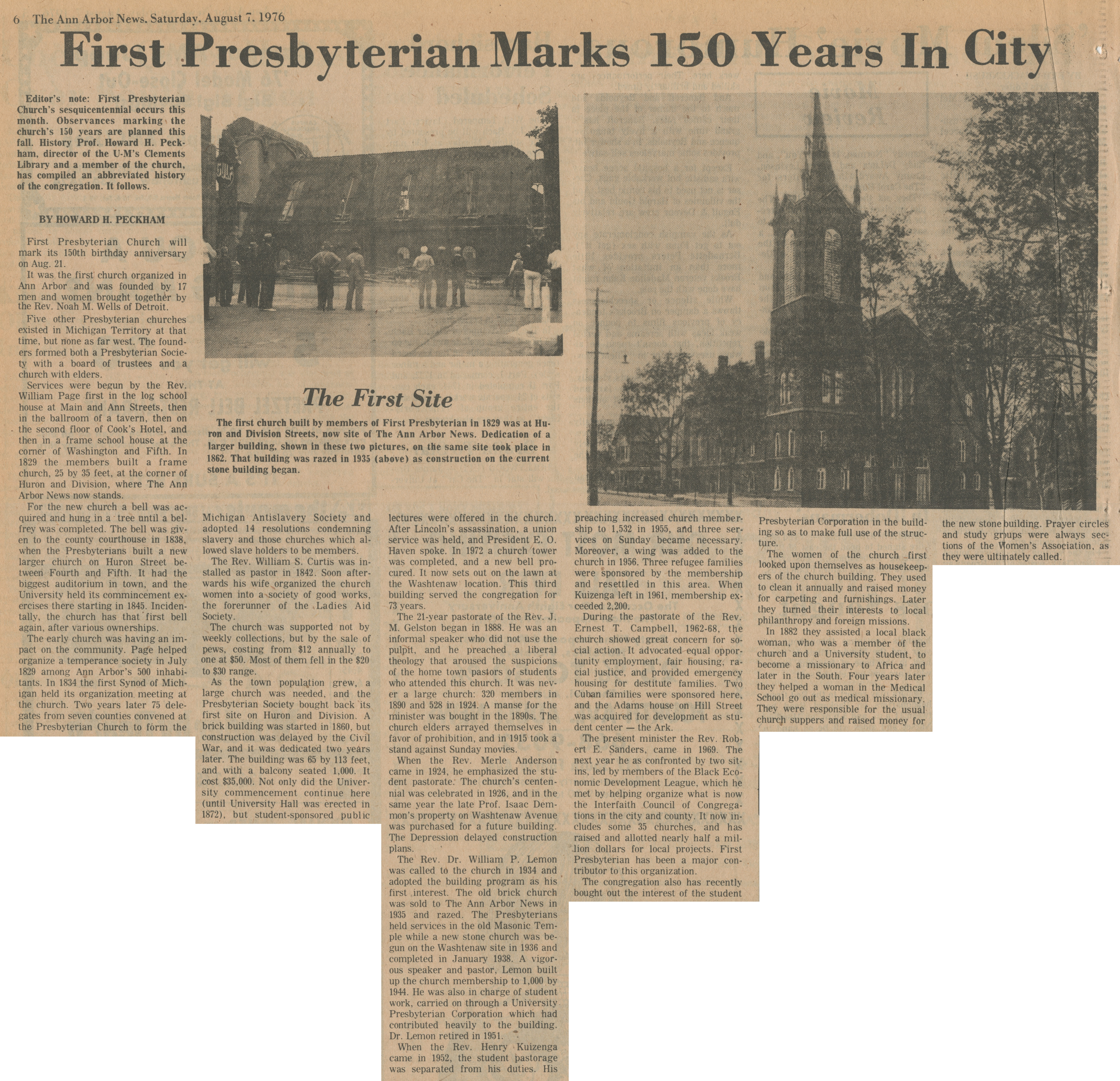 First Presbyterian Marks 150 Years In City image