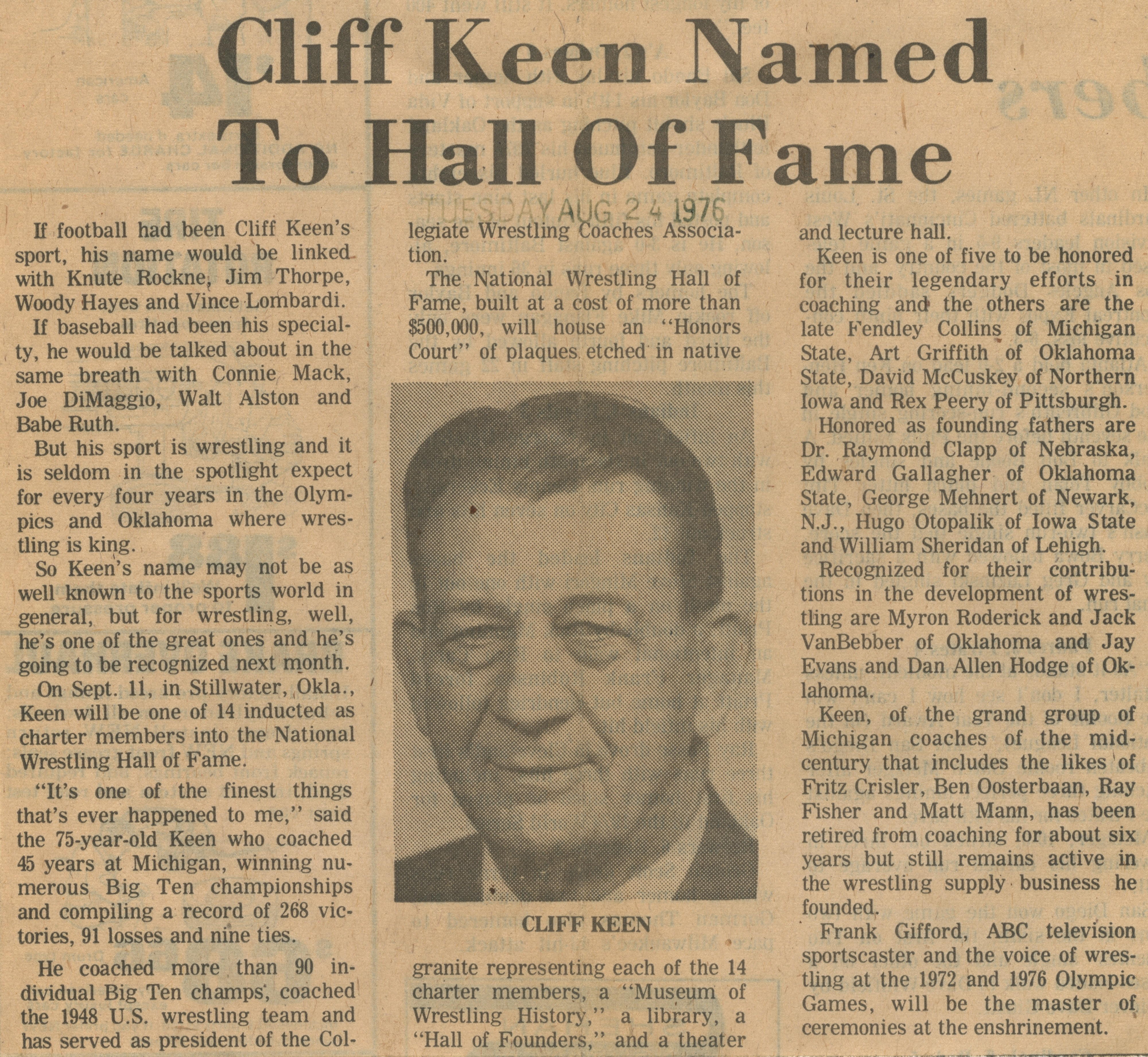 Cliff Keen Named To Hall of Fame image