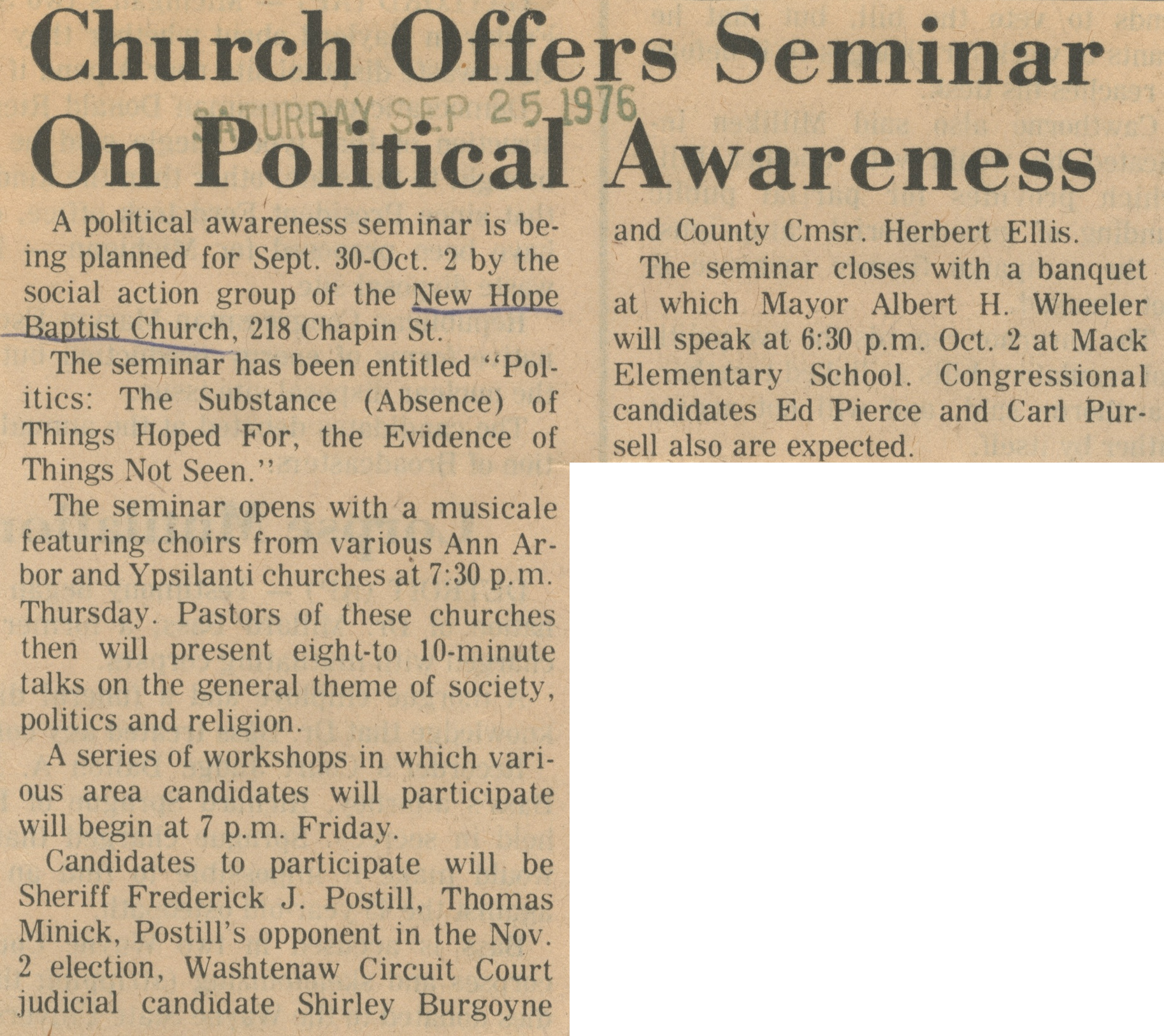 Church Offers Seminar On Political Awareness image
