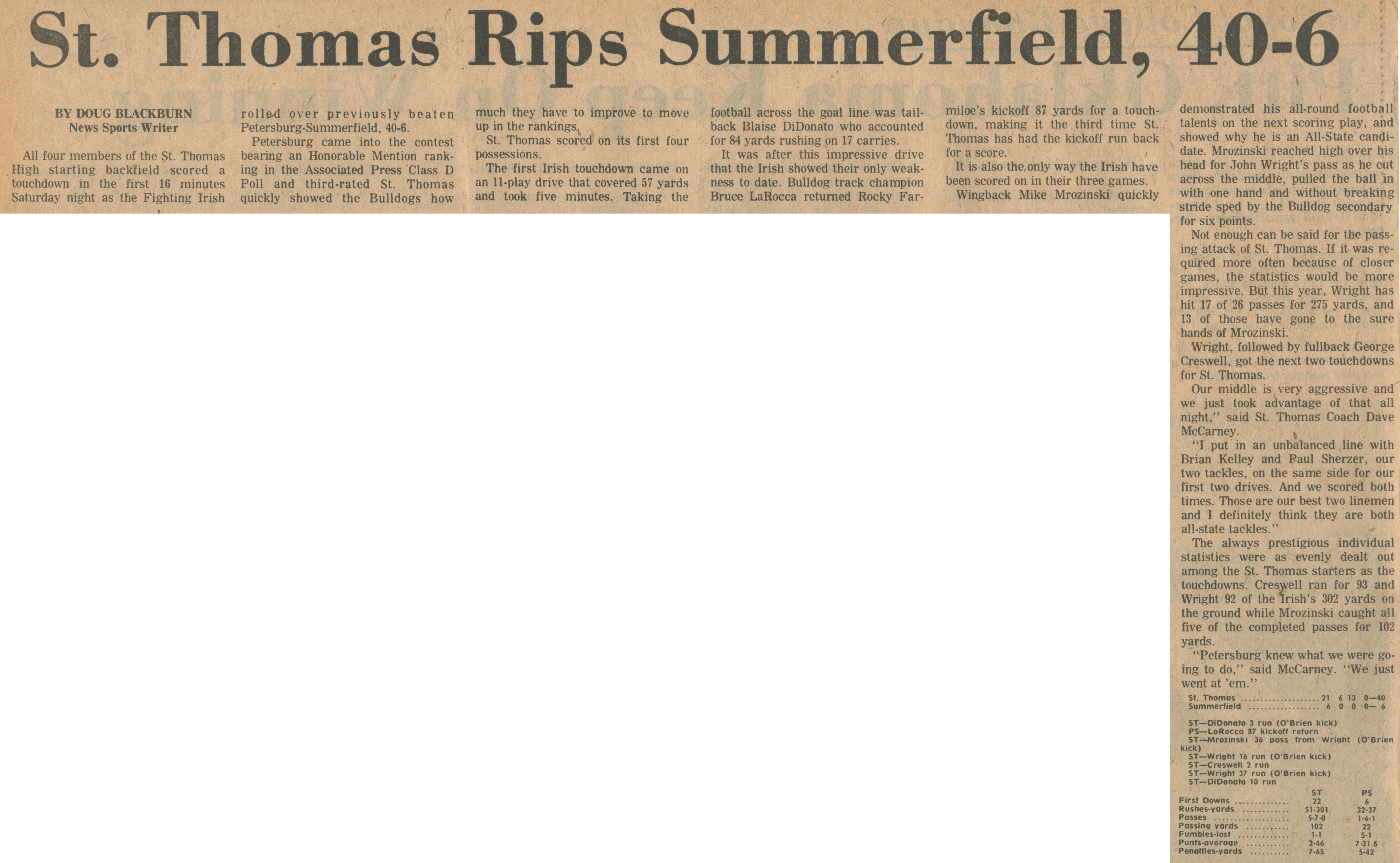 St. Thomas Rips Summerfield, 40-6 image