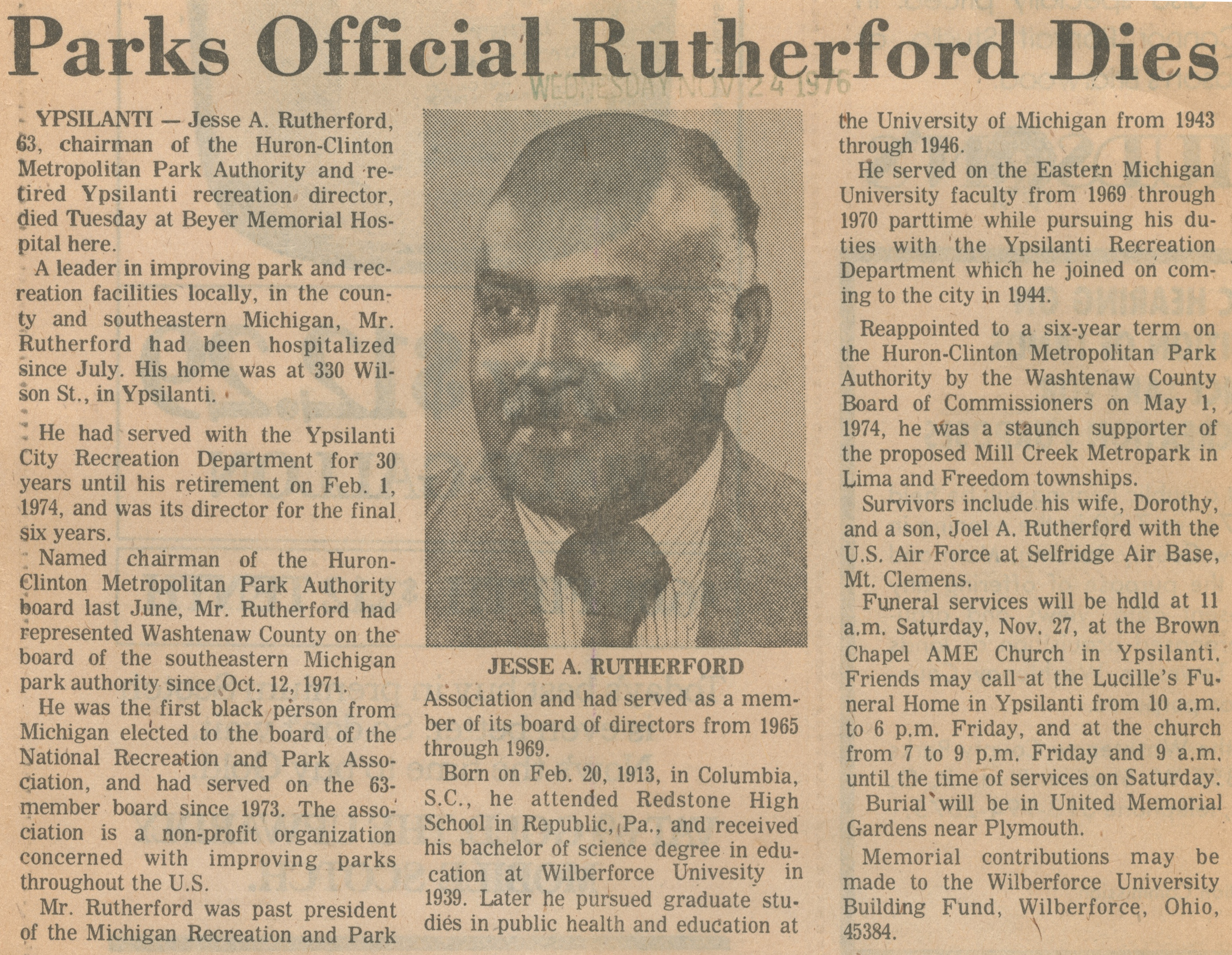 Parks Official Rutherford Dies image