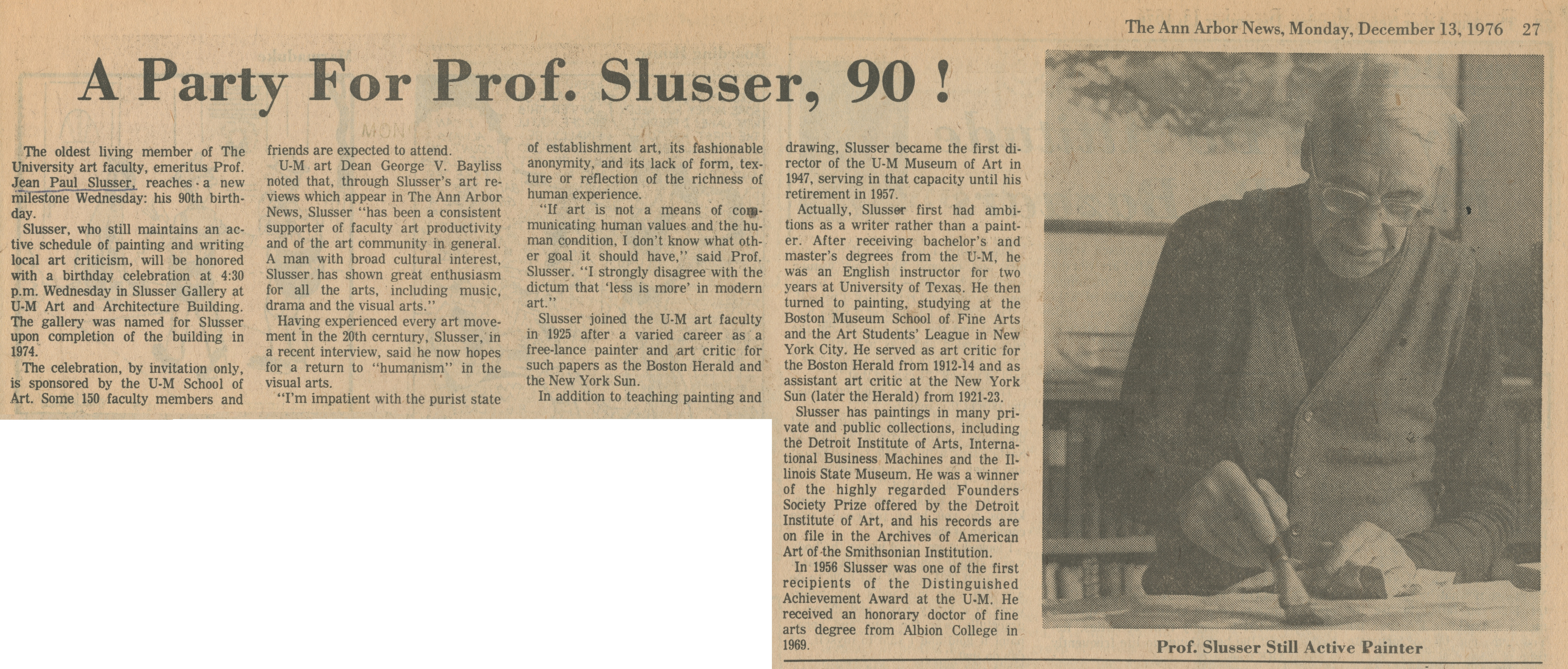 A Party For Prof. Slusser, 90! image