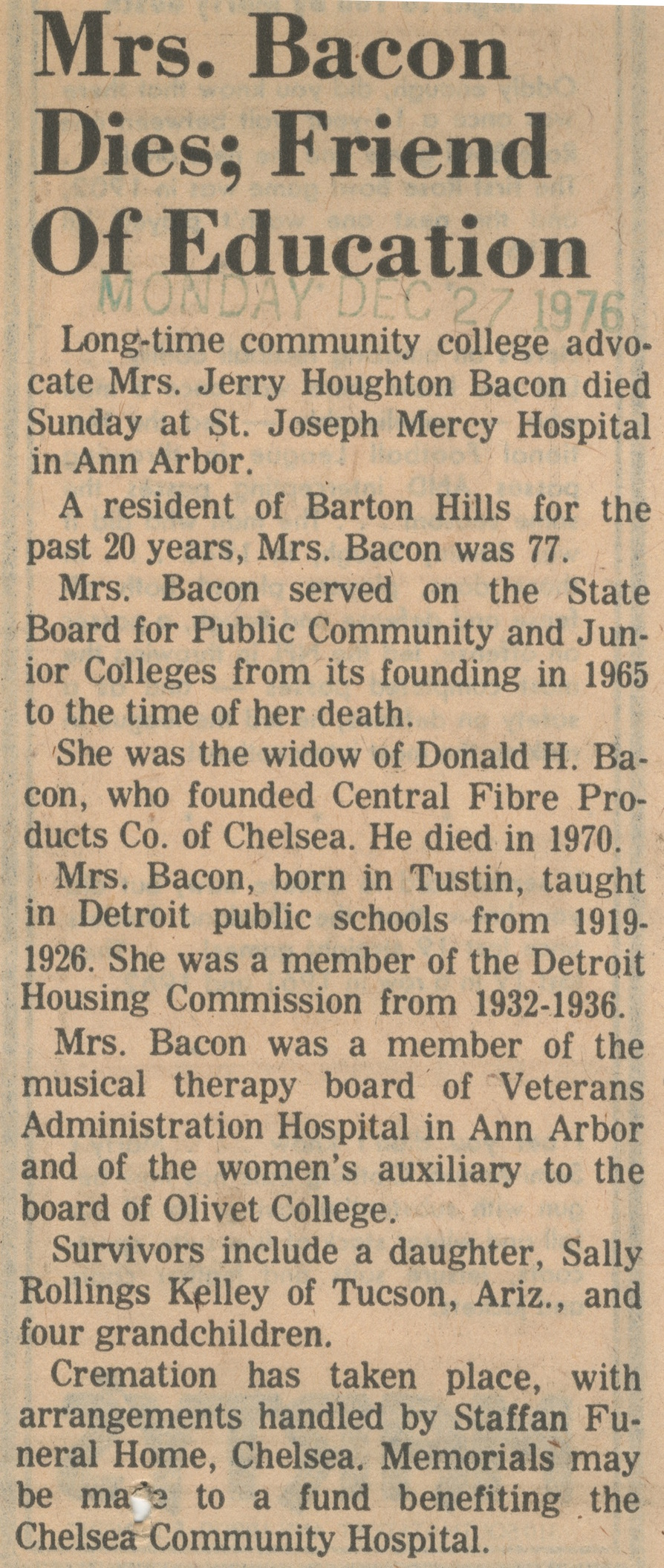 Mrs. Bacon Dies; Friend Of Education image