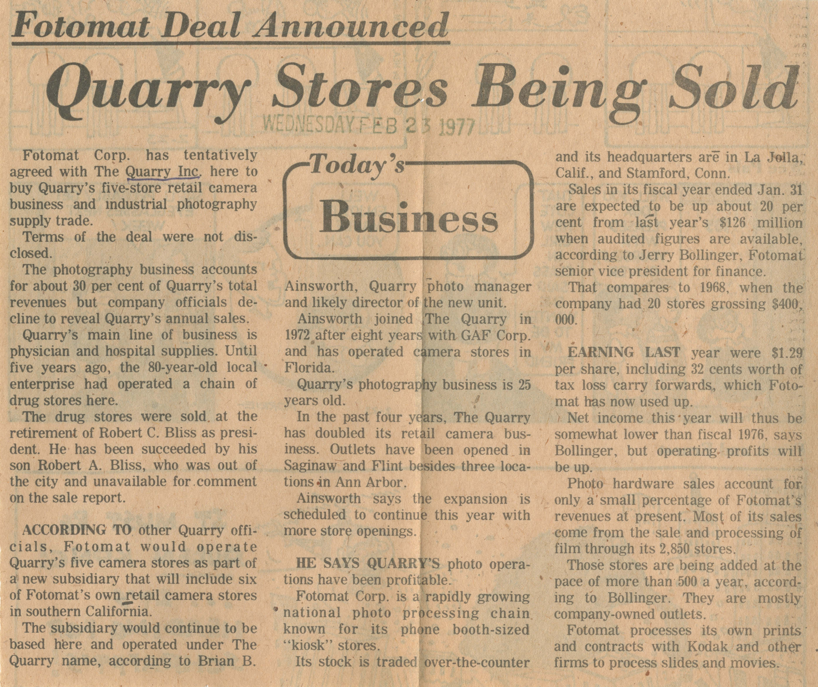 Fotomat Deal Announced: Quarry Stores Being Sold image