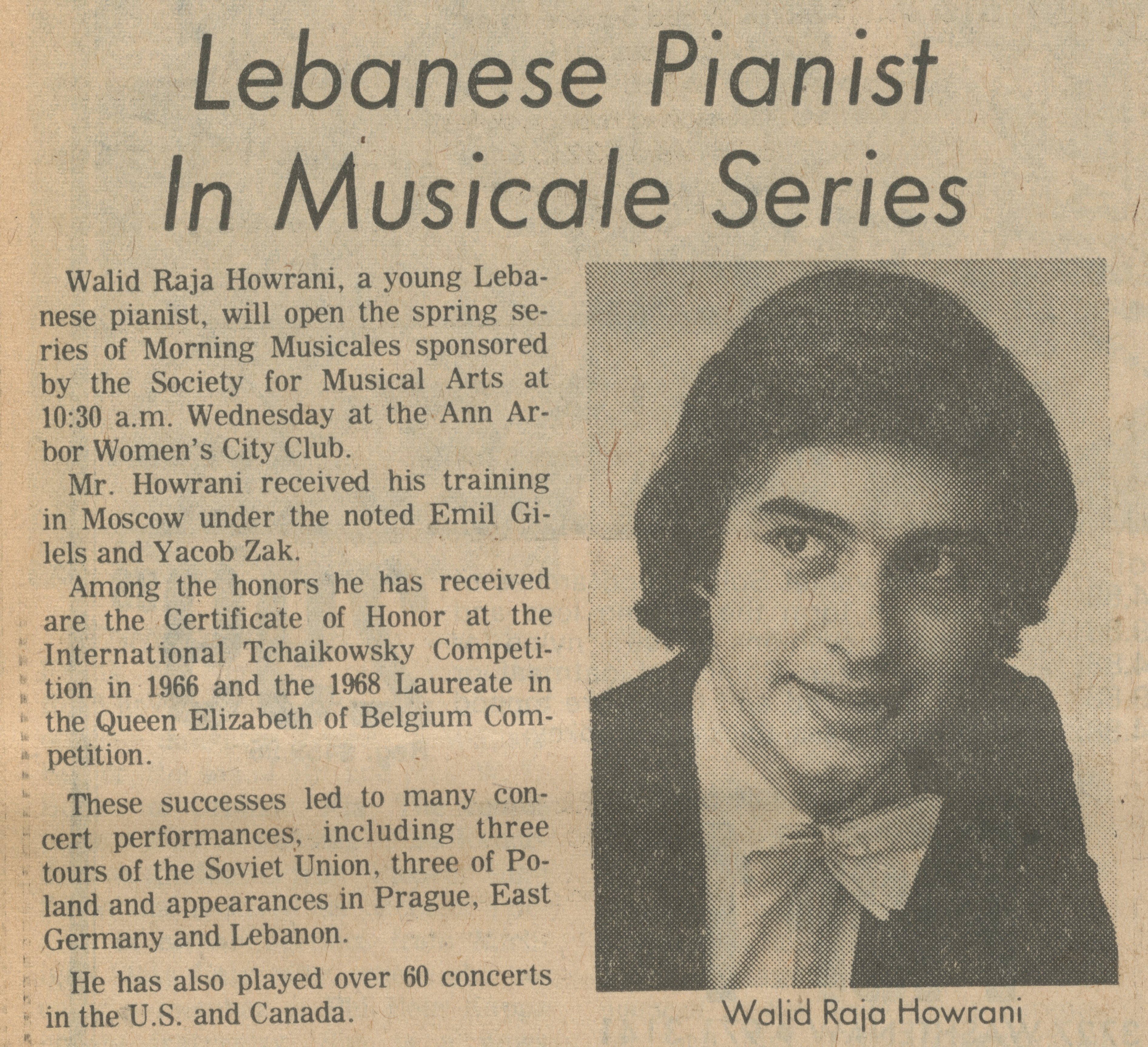 Lebanese Pianist In Musicale Series image