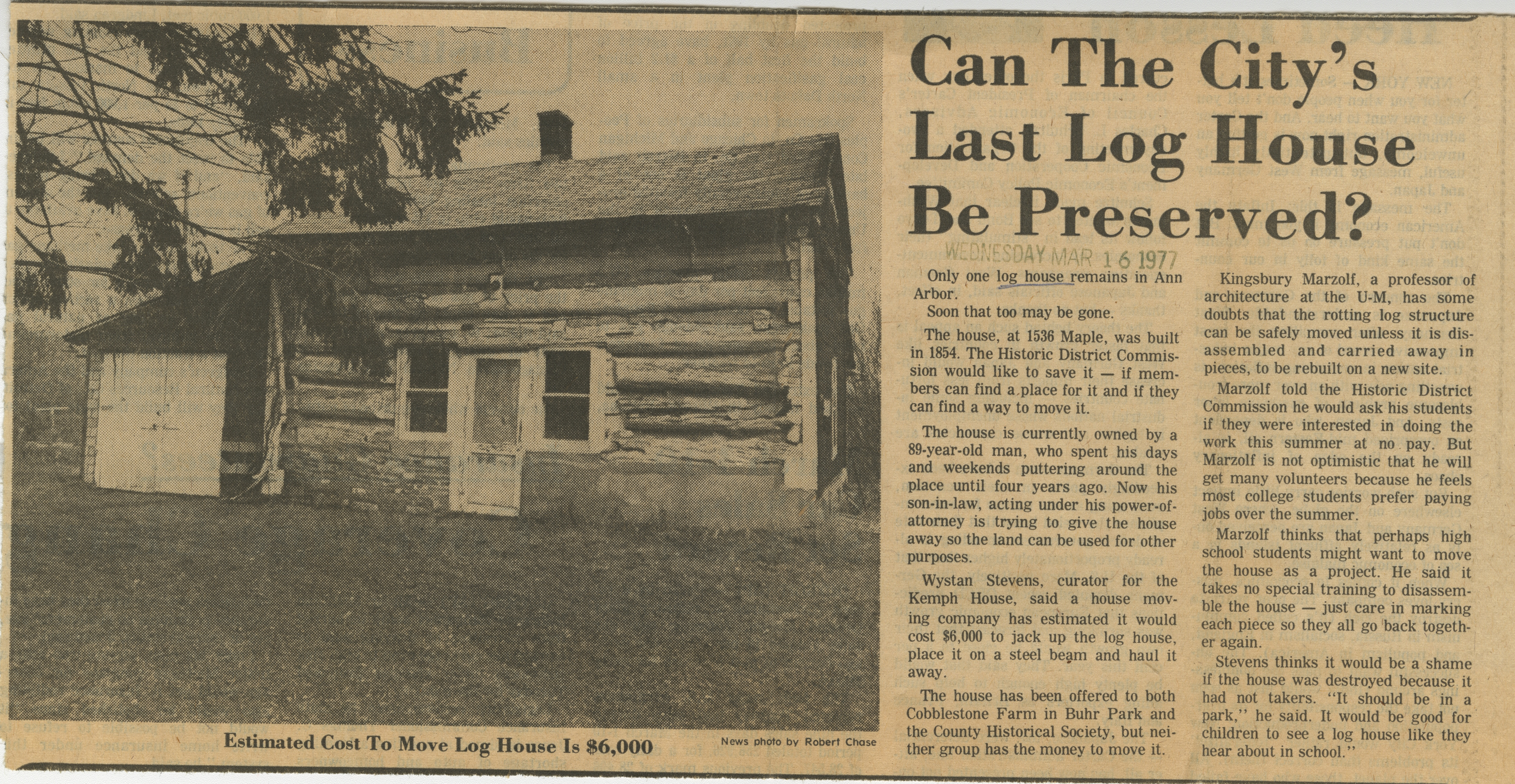 Can The City's Last Log House Be Preserved? image
