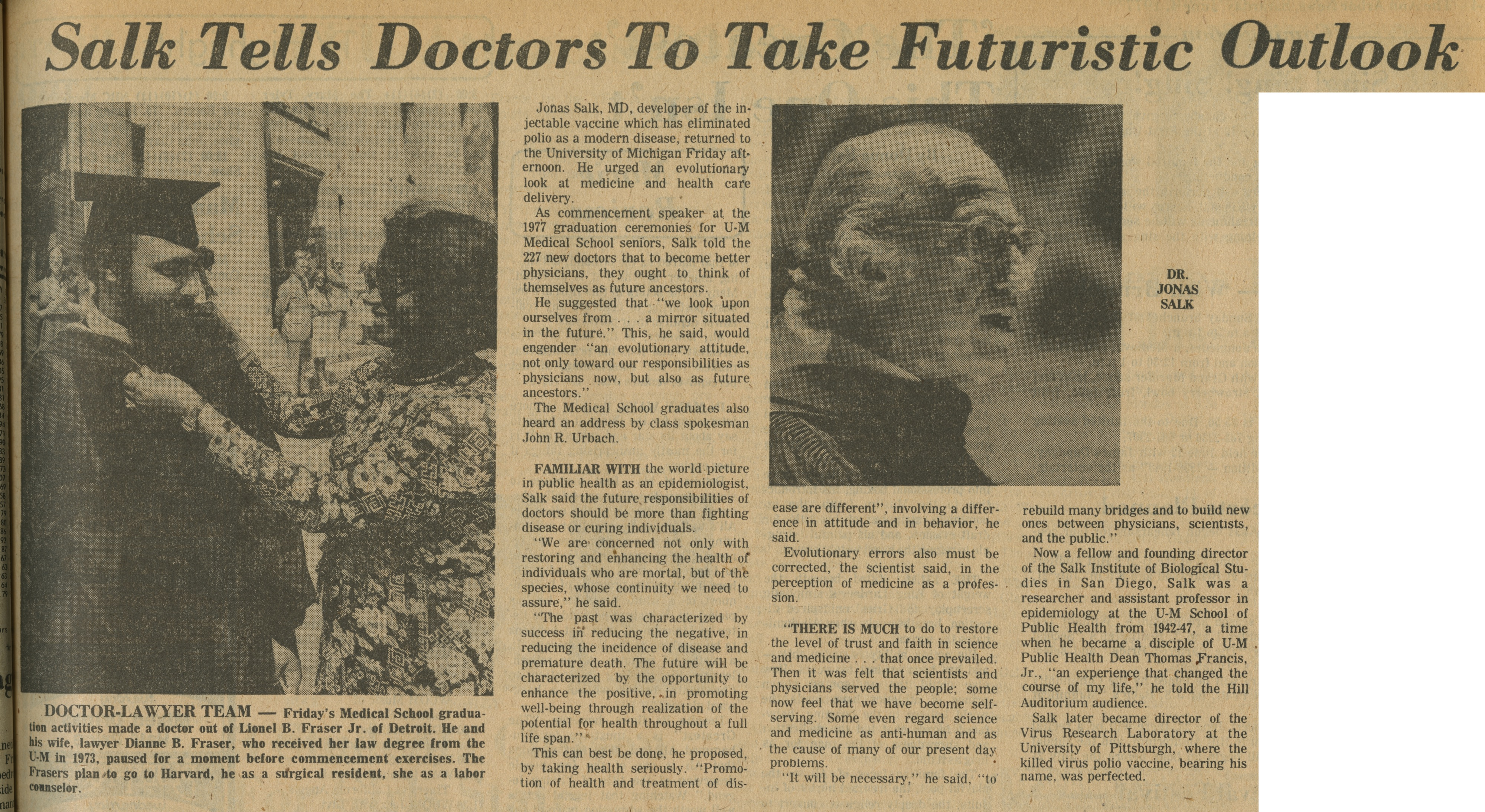 Salk Tells Doctors To Take Futuristic Outlook image