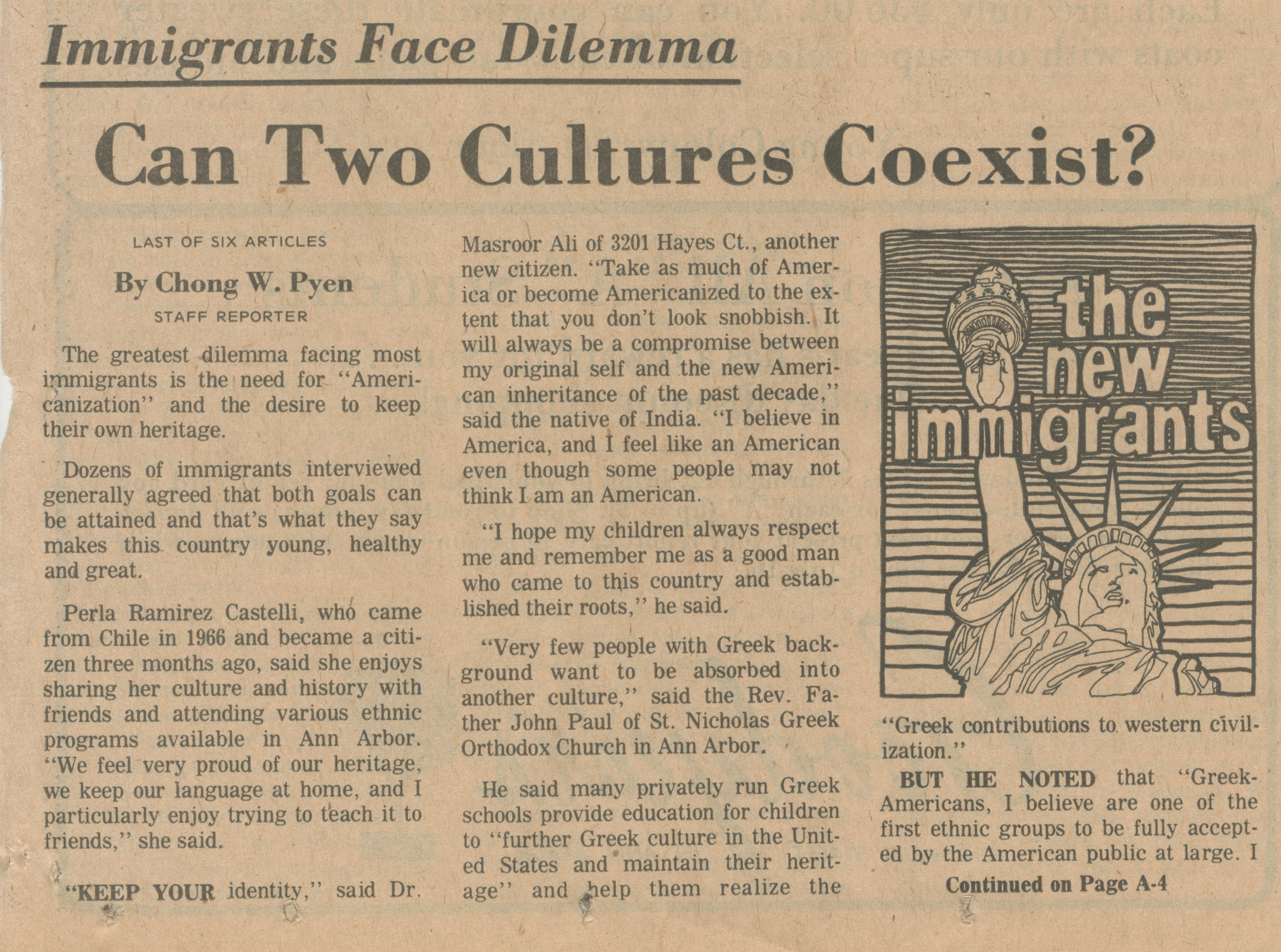 Can Two Cultures Coexist?  Immigrants Face Dilemma image