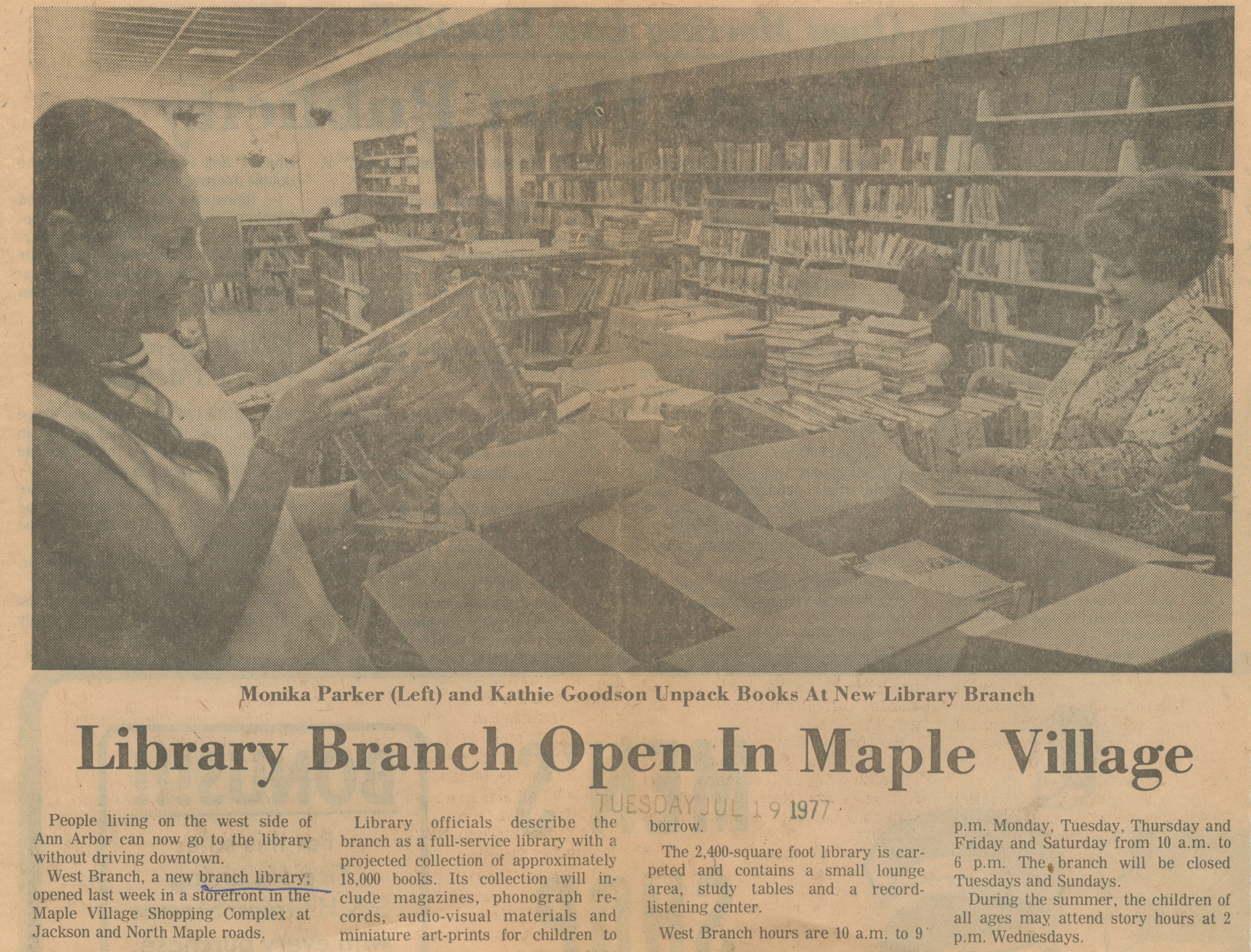 Library Branch Open In Maple Village image