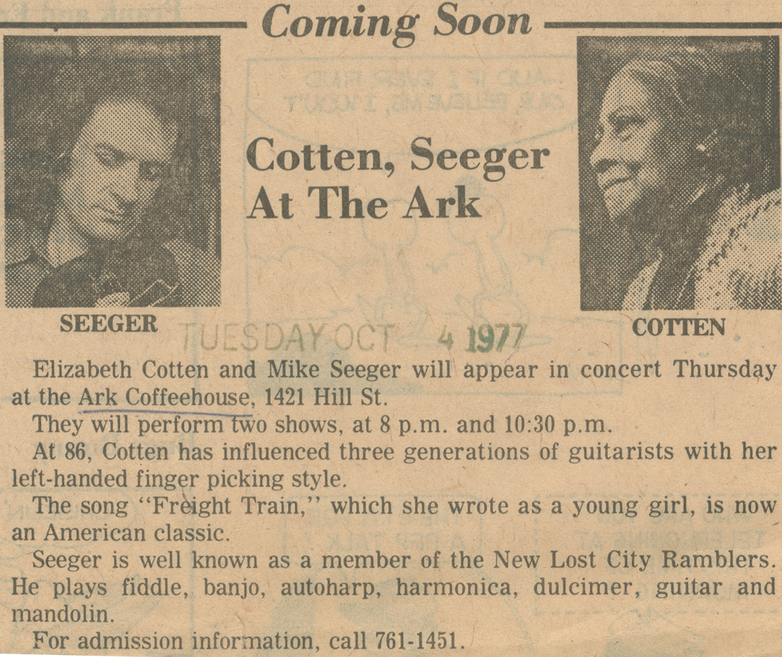 Cotten, Seeger At The Ark image