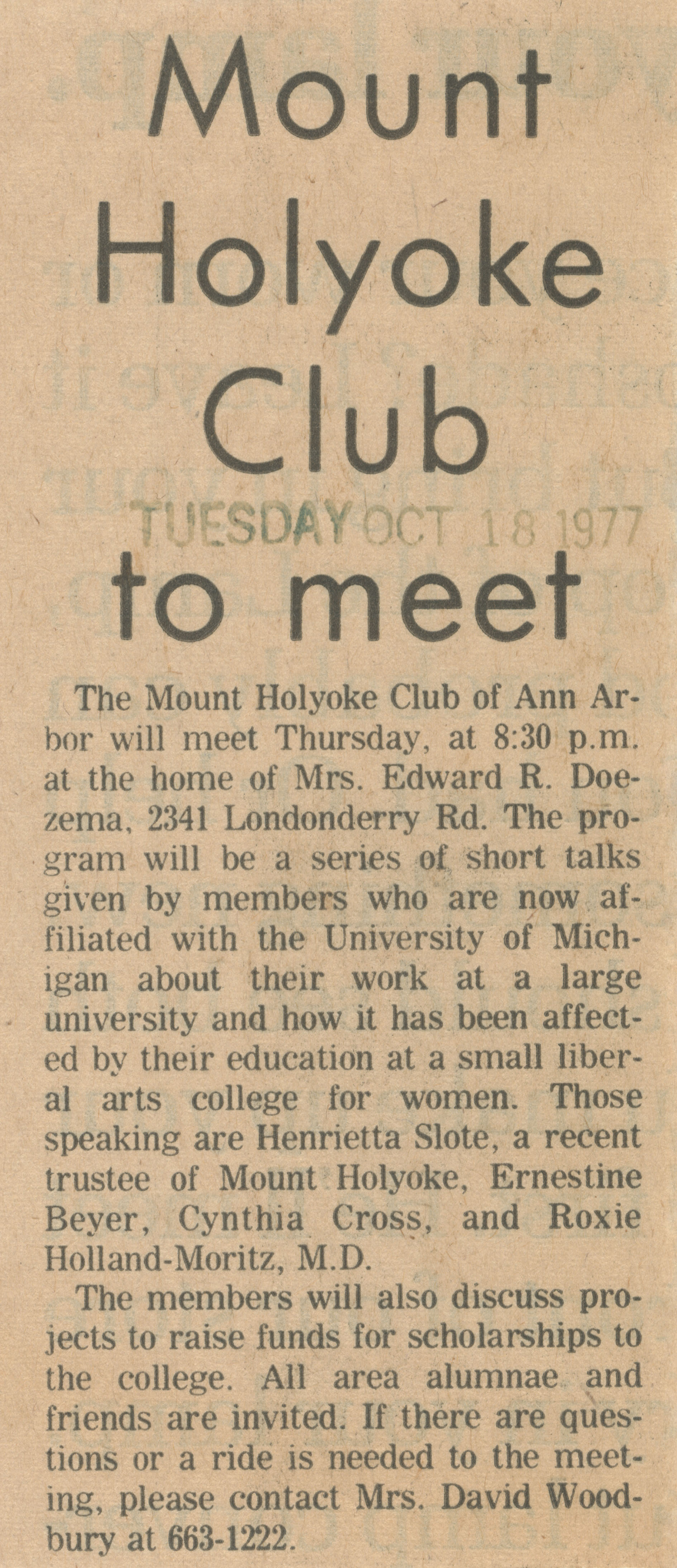 Mount Holyoke Club to Meet image