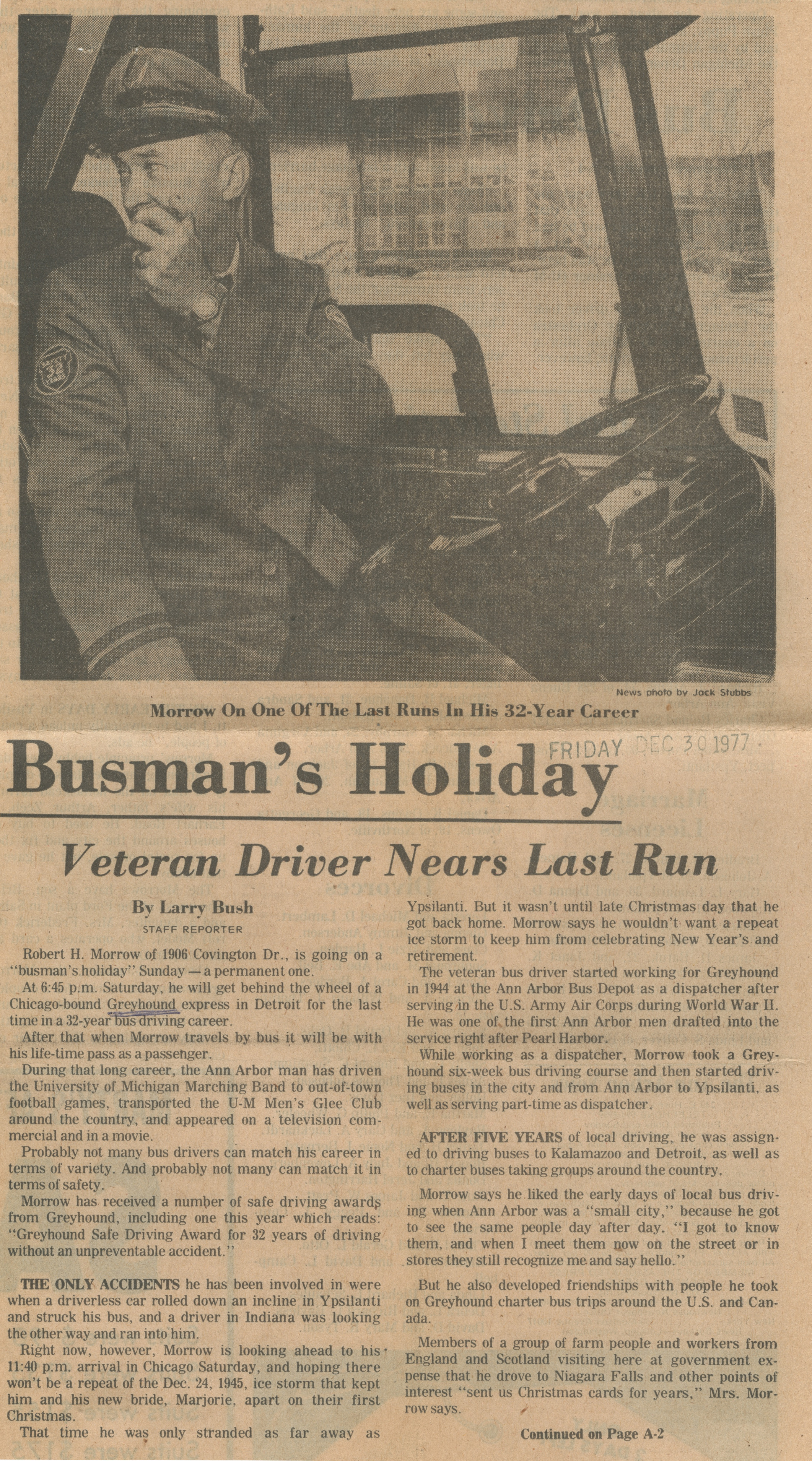 Busman's Holiday - Veteran Drive Nears Last Run image